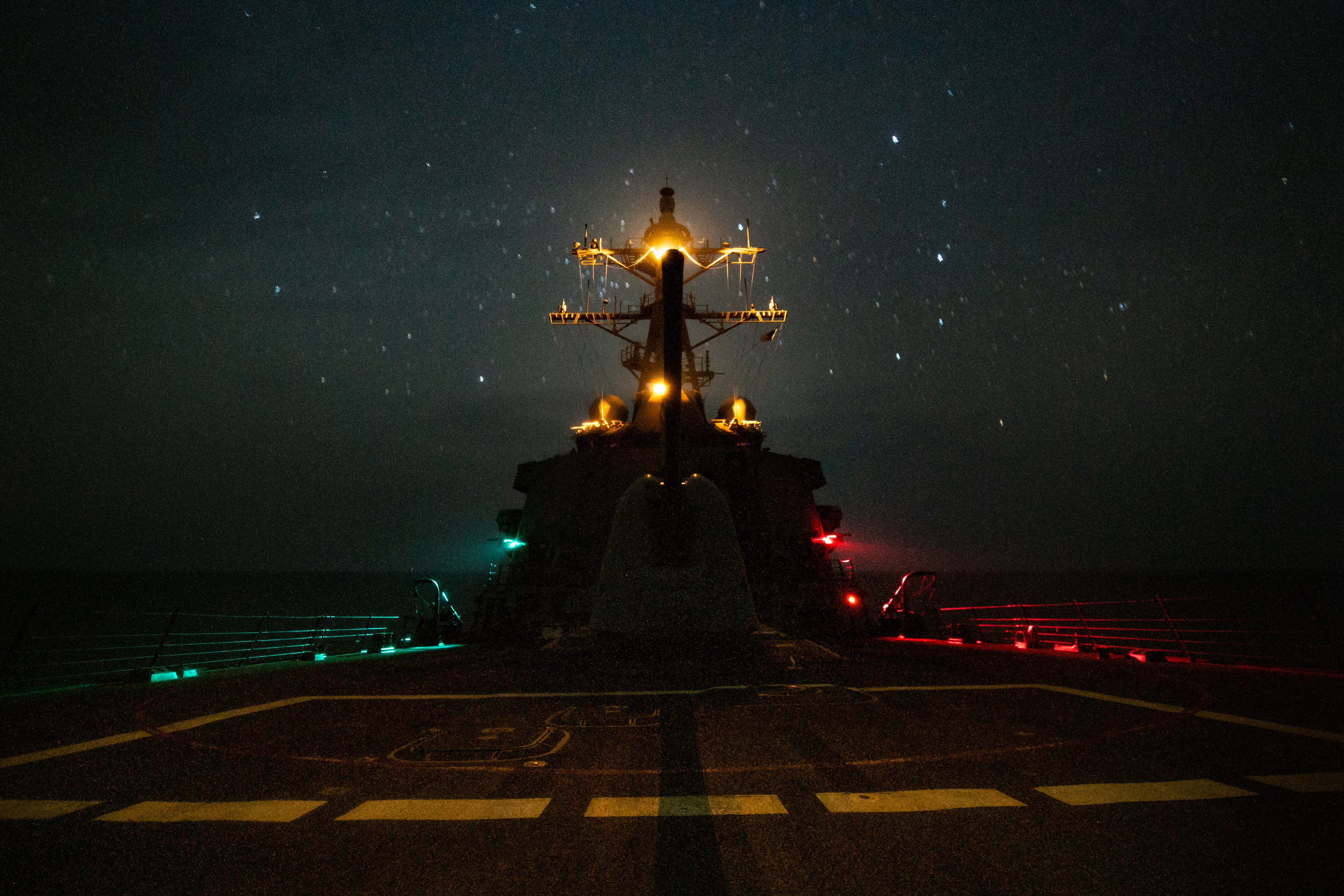 The guided-missile destroyer Mahan transits the Gulf of Oman July 7. (MCSN Ryan Childress/Navy)