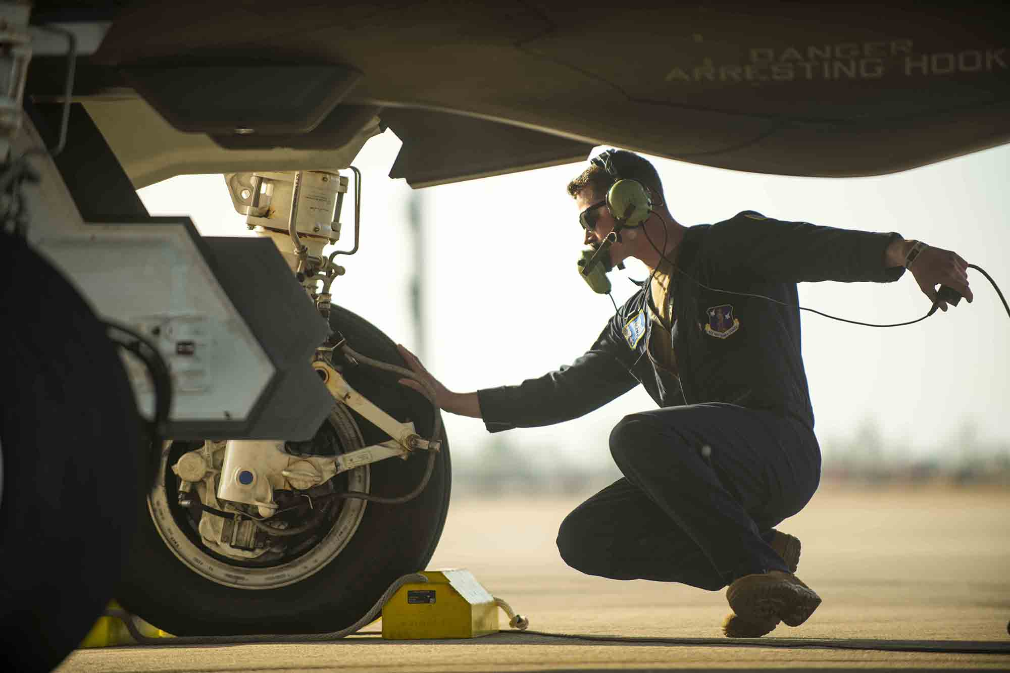 Staff Sgt. Joe Payea, Vermont Air National Guard, prepares to launch an F-35A Lightning II during training at Tyndall Air Force Base, Fla., Jan. 21, 2021. (Master Sgt. Michael Davis/Air National Guard)
