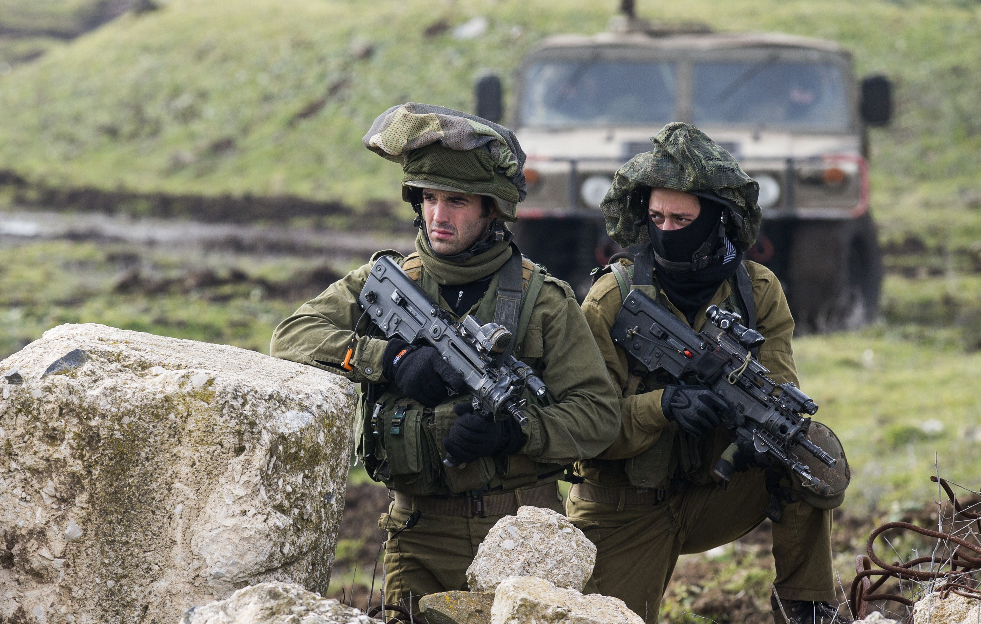 Israeli soldiers from the Golani Brigade take part in a military training exercise near the border with Syria on Jan. 19, 2015. (Jack Guez/AFP via Getty Images)