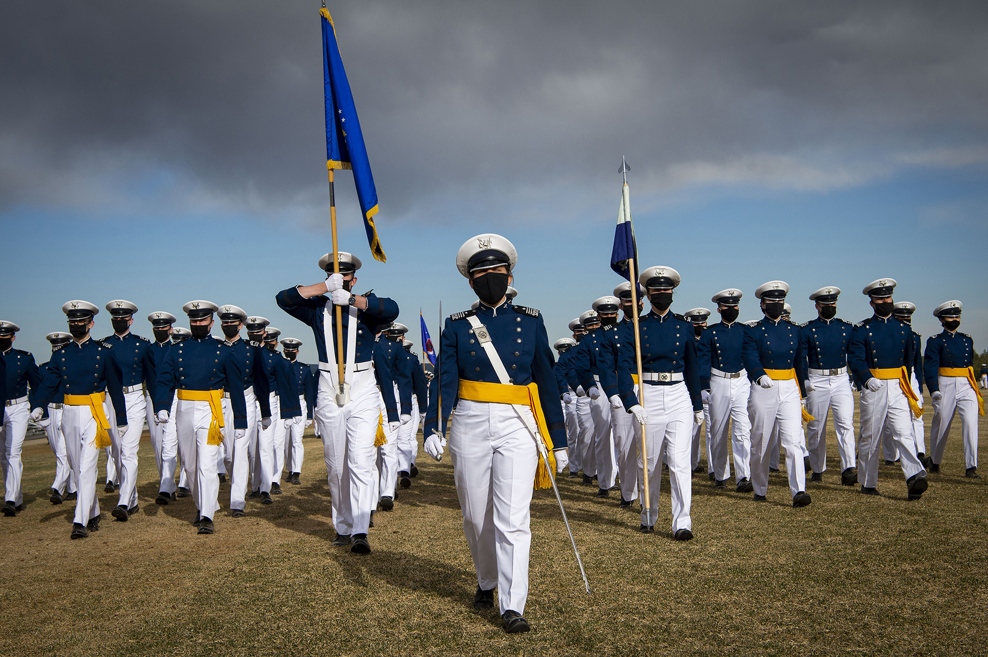 Air Force Academy cadets march on Stillman Field during the pass in review portion of the Founder's Day Parade at Stillman Field in Colorado Spring, Colo., April 2, 2021. (Joshua Armstrong/Air Force)