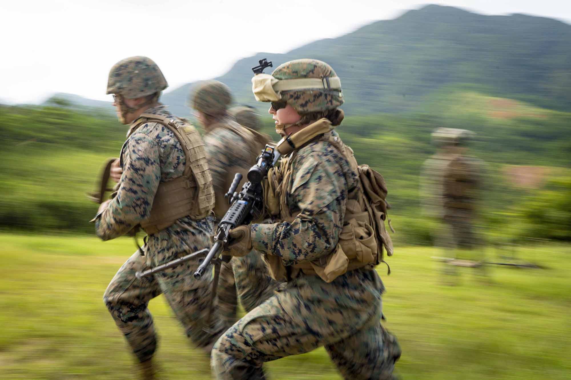 Lance Cpl. Mackenzie K. Price participates in a gun run during a training and readiness event on Range 9, Camp Hansen, Okinawa, Japan, Sept. 30, 2020. (Cpl. Timothy Hernandez/Marine Corps)