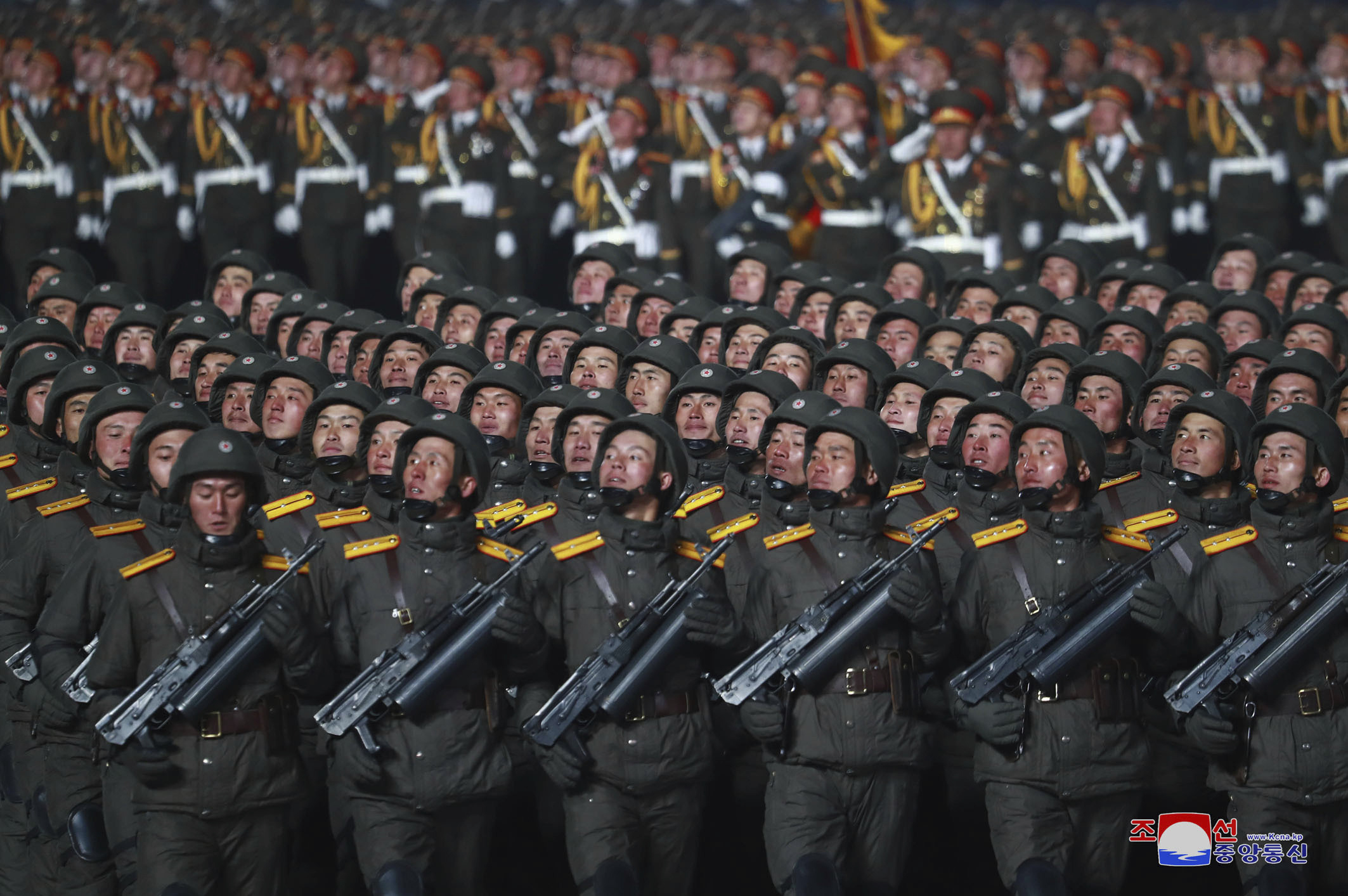 North Korean soldiers march in formation during a military parade in Pyongyang, North Korea, on Jan. 14, 2021. (Korean Central News Agency/Korea News Service via AP)