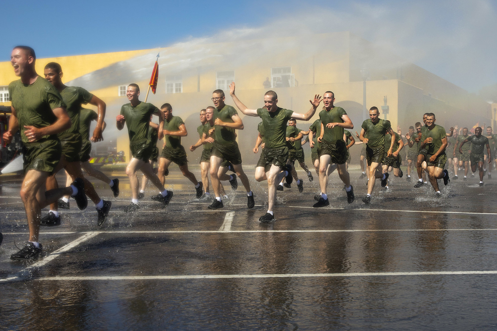 New Marines with Fox Company, 2nd Recruit Training Battalion, participate in a motivational run at Marine Corps Recruit Depot San Diego, April 28, 2021. (Sgt. Brooke C. Woods/Marine Corps)