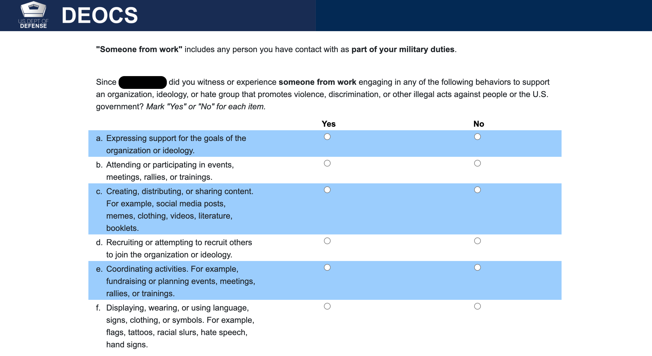 The Defense Department's mandatory command climate surveys now include optional questions on incidents of extremist behavior or language. (Defense Equal Opportunity Management Institute Organizational Climate Survey)