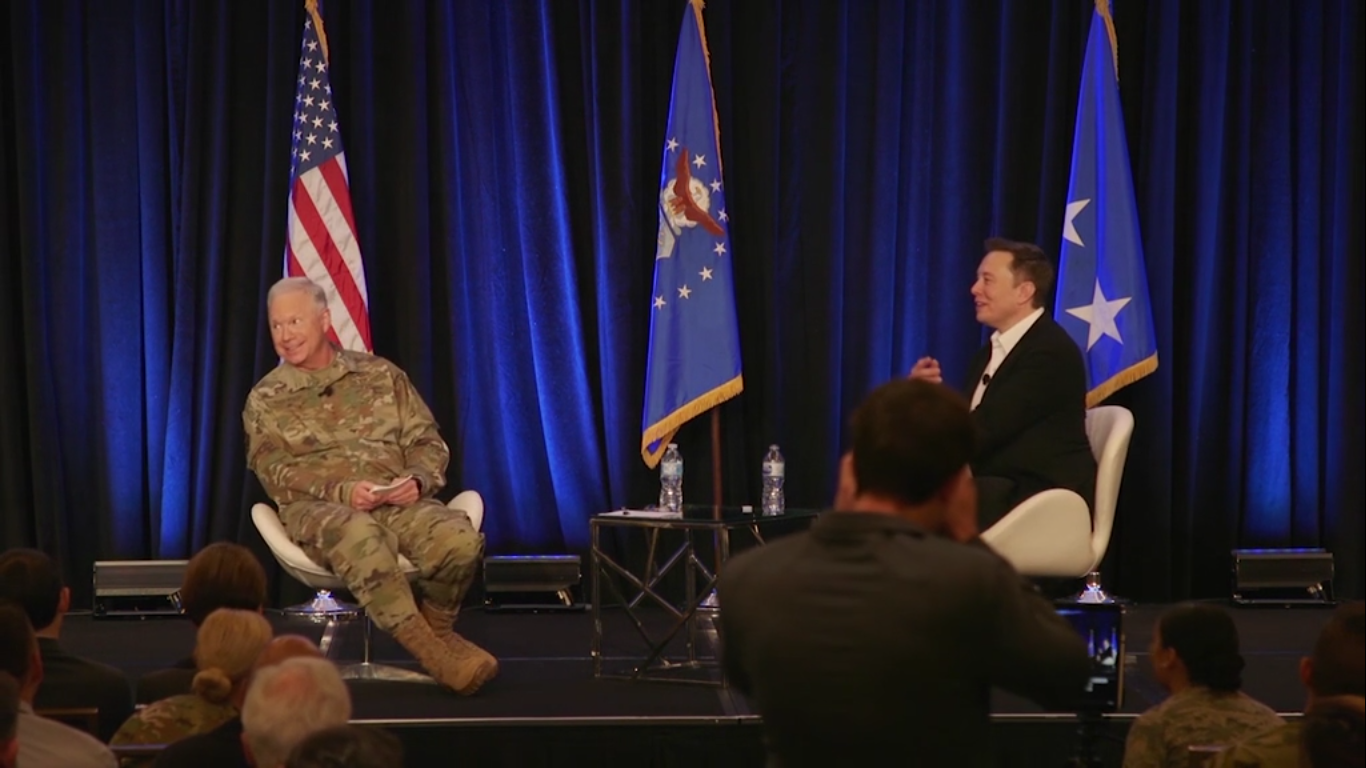 In this video screenshot, Lt. Gen. John Thompson, Space and Missile Systems Center commander, speaks with SpaceX CEO Elon Musk during a fireside chat at the 2019 Space Pitch Days. (Space and Missile Systems Center)