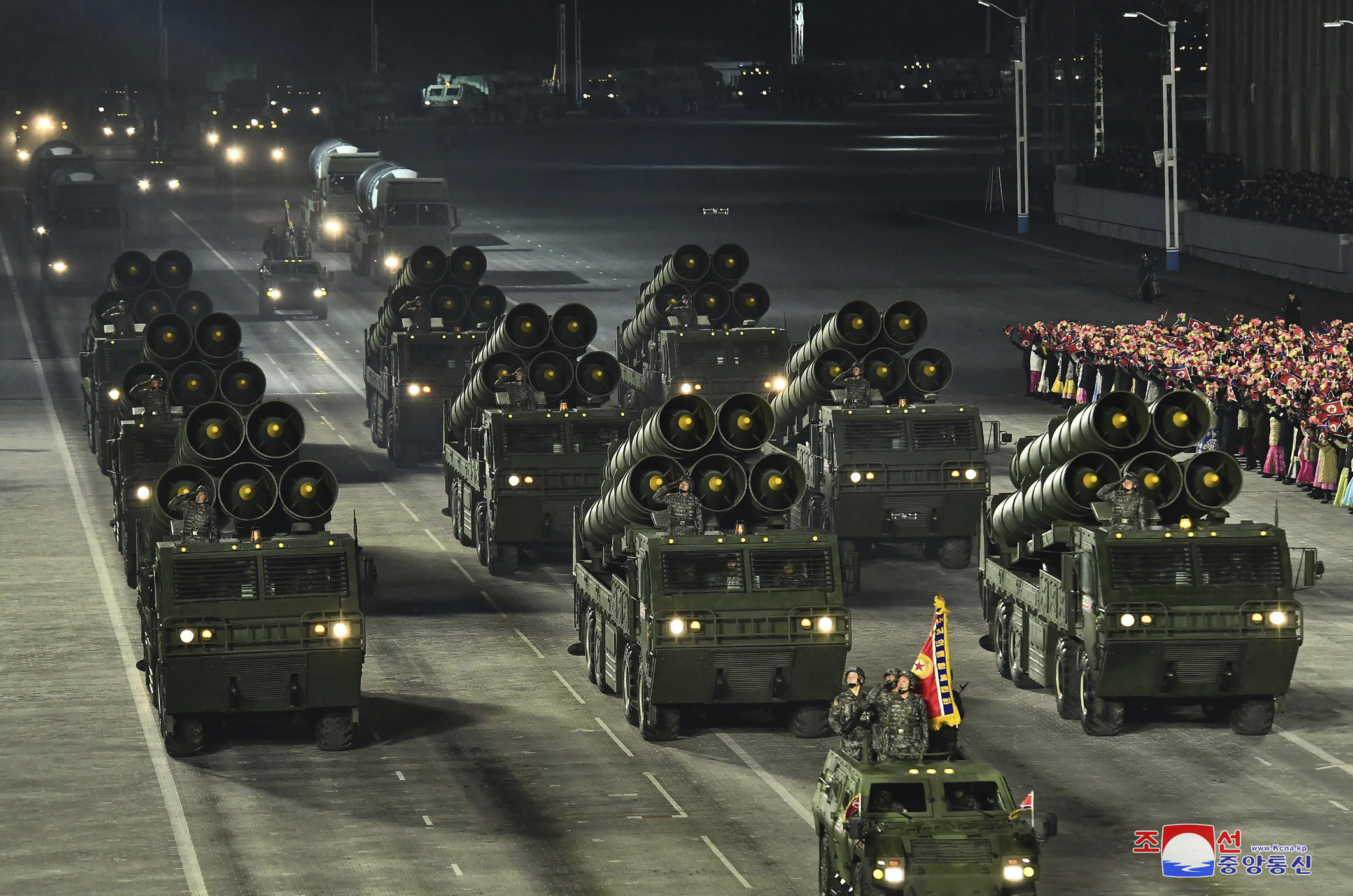 North Korea showed off weapons during a Jan. 14, 2021, parade in the capital. (Korean Central News Agency/Korea News Service via AP)