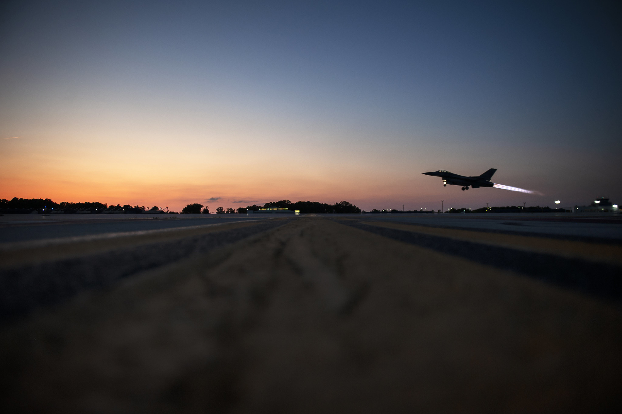 An F-16 Fighting Falcon, assigned to the Ohio National Guard's 180th Fighter Wing, takes off for a nighttime training mission, June 16, 2020. (Senior Master Sgt. Beth Holliker/Air National Guard)