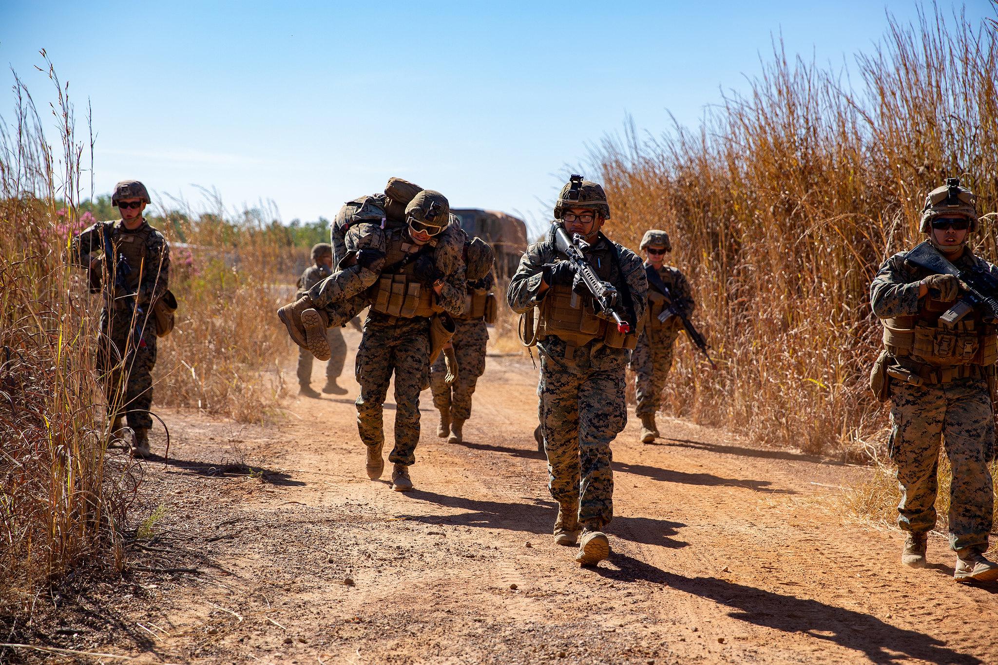 U.S. Marines with Logistics Combat Element, Marine Rotational Force - Darwin, conduct patrol and ambush exercises at Robertson Barracks, NT, Australia, July 14, 2020. (Lance Cpl. Natalie Greenwood/Marine Corps)