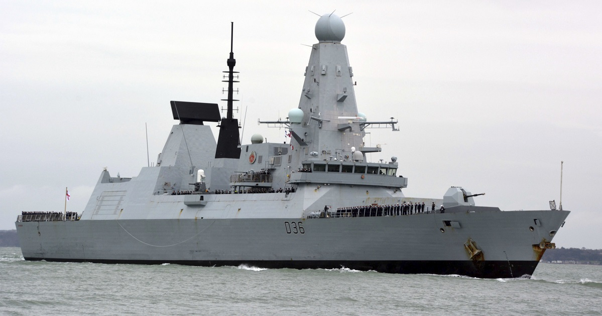 The Russian military says one of its warships fired warning shots and a plane dropped bombs Wednesday to force the British destroyer HMS Defender, shown here, from an area of the Black Sea near Crimea. The U.K. denied it. (Ben Mitchell/PA via AP, File)