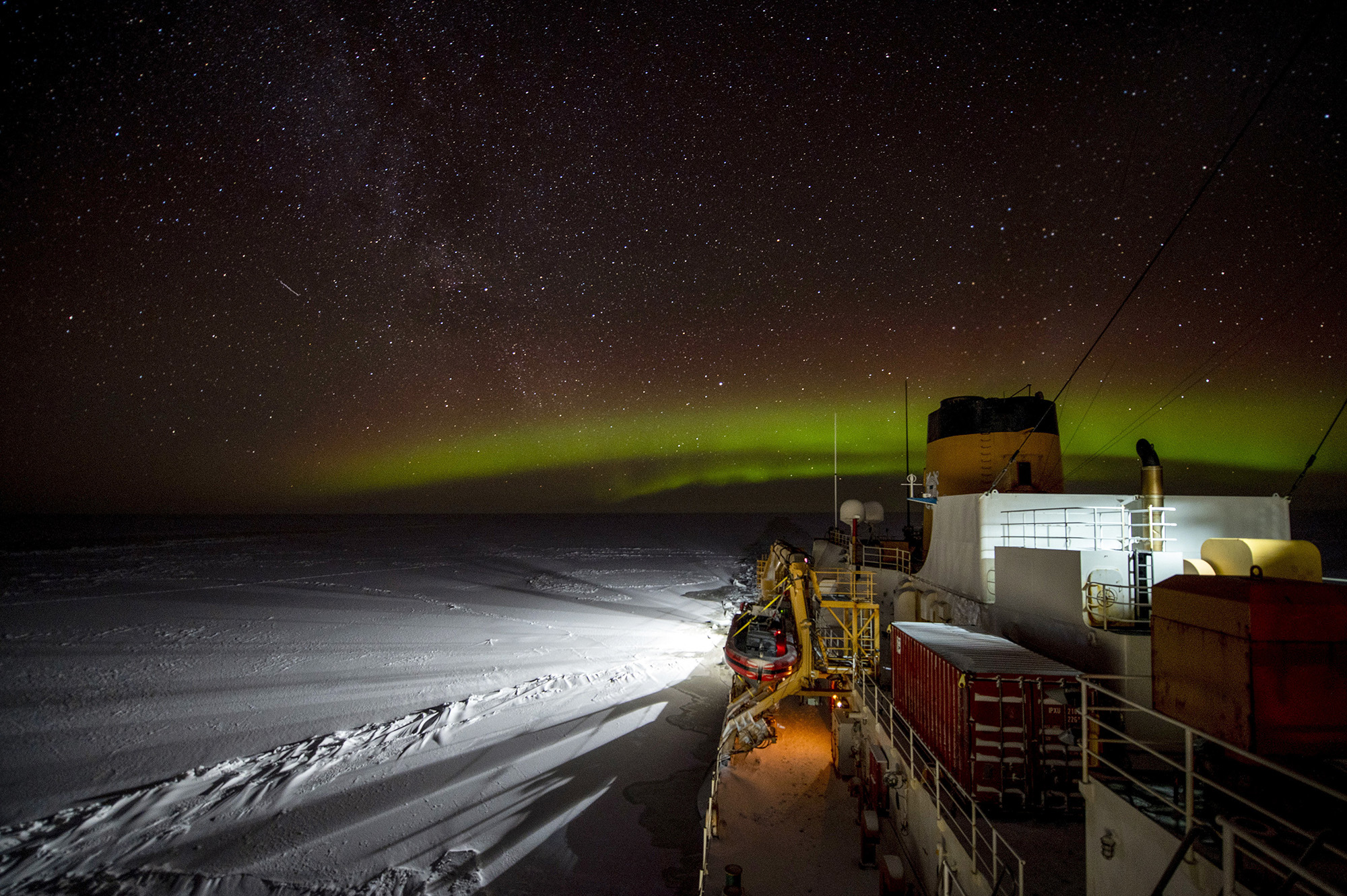 The Coast Guard Cutter Polar Star (WAGB 10) transits south in the Bering Strait early Jan. 19, 2021. The 45-year-old heavy icebreaker is underway to project power and support national security objectives throughout Alaskan waters and into the Arctic, including along the Maritime Boundary Line between the United States and Russia. (Petty Officer 1st Class Cynthia Oldham/Coast Guard)