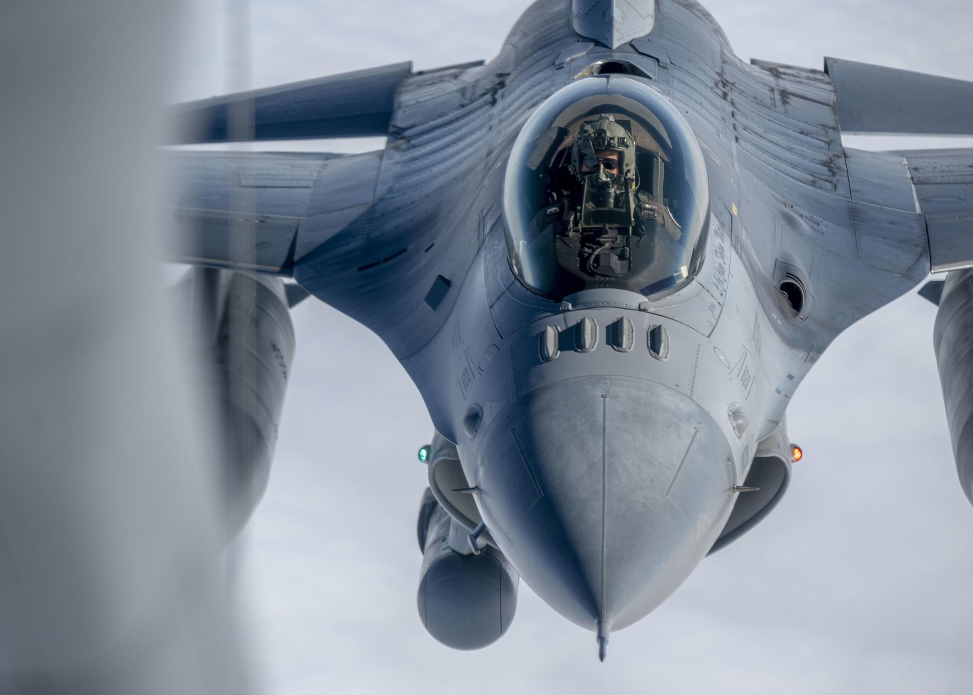Capt. Joseph Christensen, 120th Fighter Squadron pilot, refuels while returning from exercise Amalgam Dart 21-01, June 17, 2021. (Airman Mira Roman/Air National Guard)