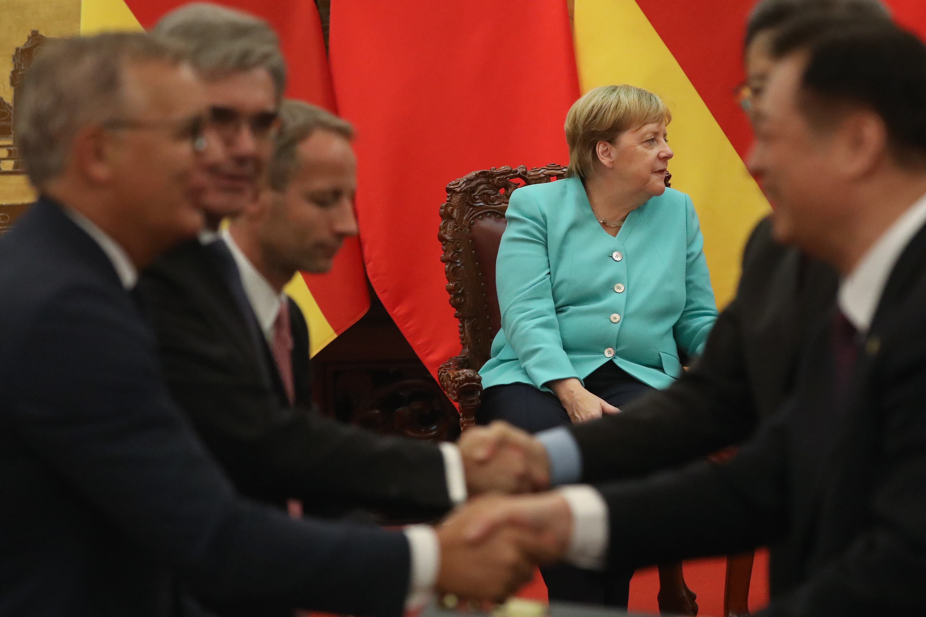 German Chancellor Angela Merkel talks with Chinese Premier Li Keqiang, not shown, during a meeting at The Great Hall Of The People in 2019 in Beijing. (Andrea Verdelli/Getty Images)