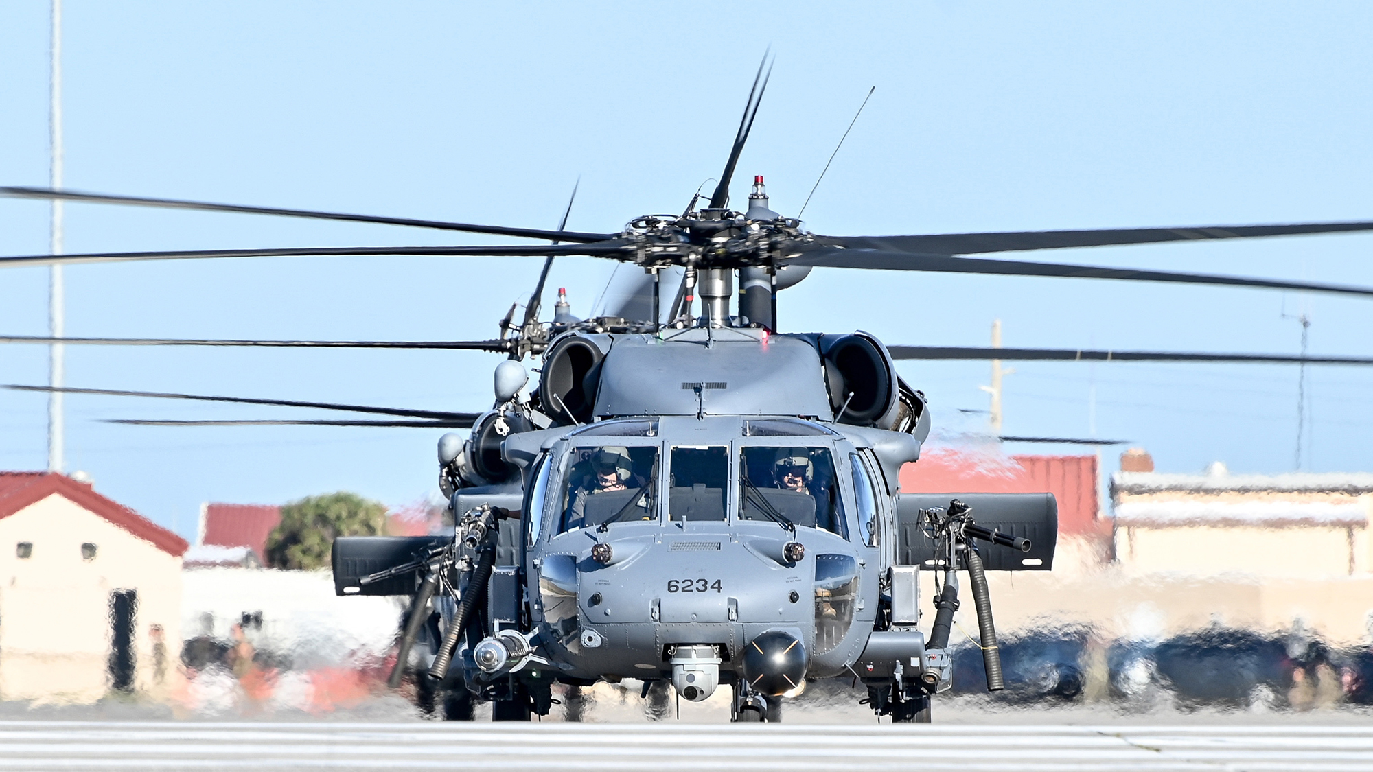HH-60G Pave Hawk helicopters from the 920th Rescue Wing perform an elephant walk April 10, 2021, during an exercise at Patrick Space Force Base, Fla. An elephant walk is a term used to describe aircraft taxiing and taking off in close formation. (Master Sgt. Kelly Goonan/Air Force)
