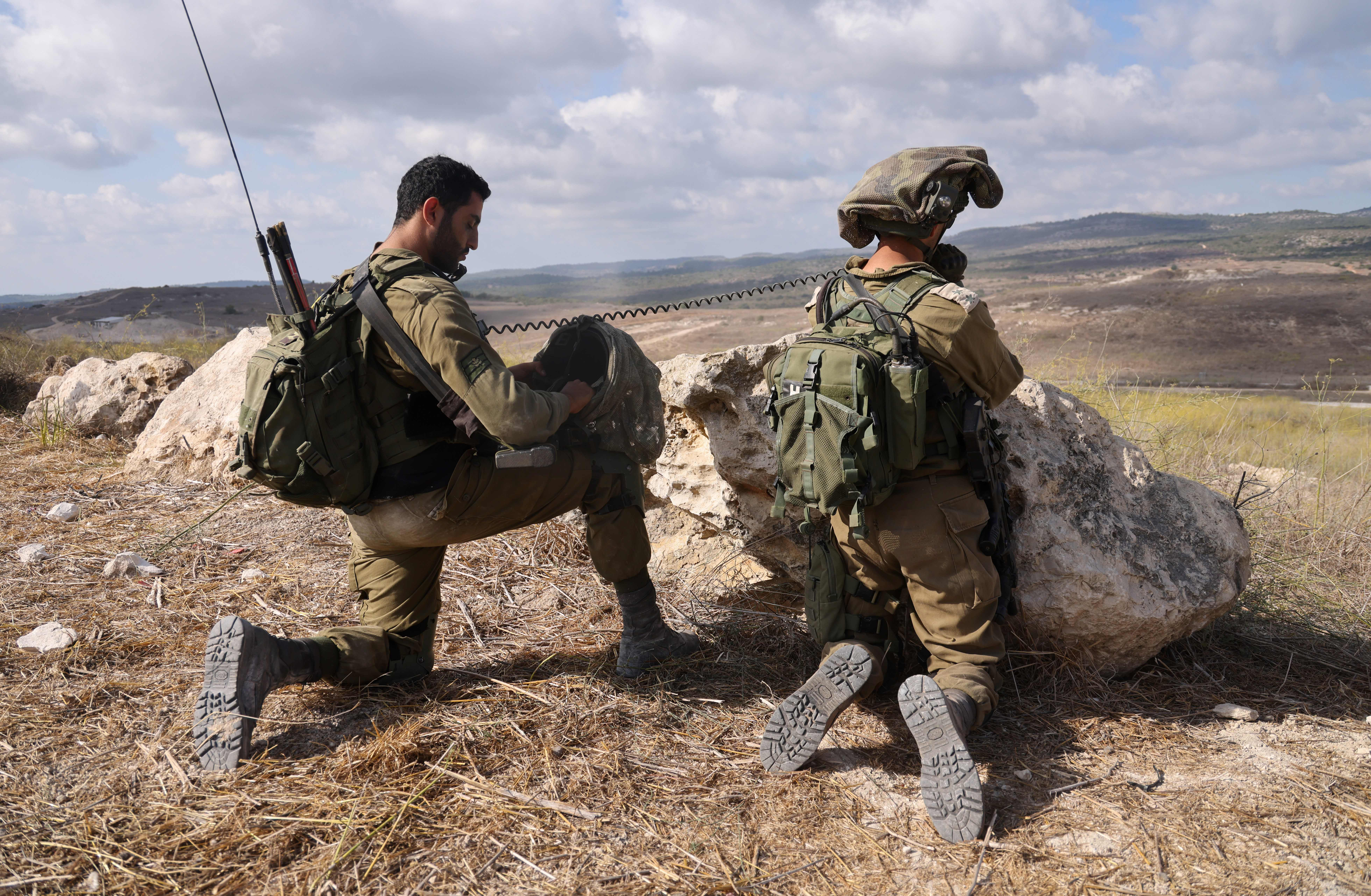 Israeli soldiers take part in 2020 military exercises near the northern Elyakim area during a simulation to protect the country's northern border, practiced taking out hostile targets. (Emmanuel Dunand/AFP via Getty Images)