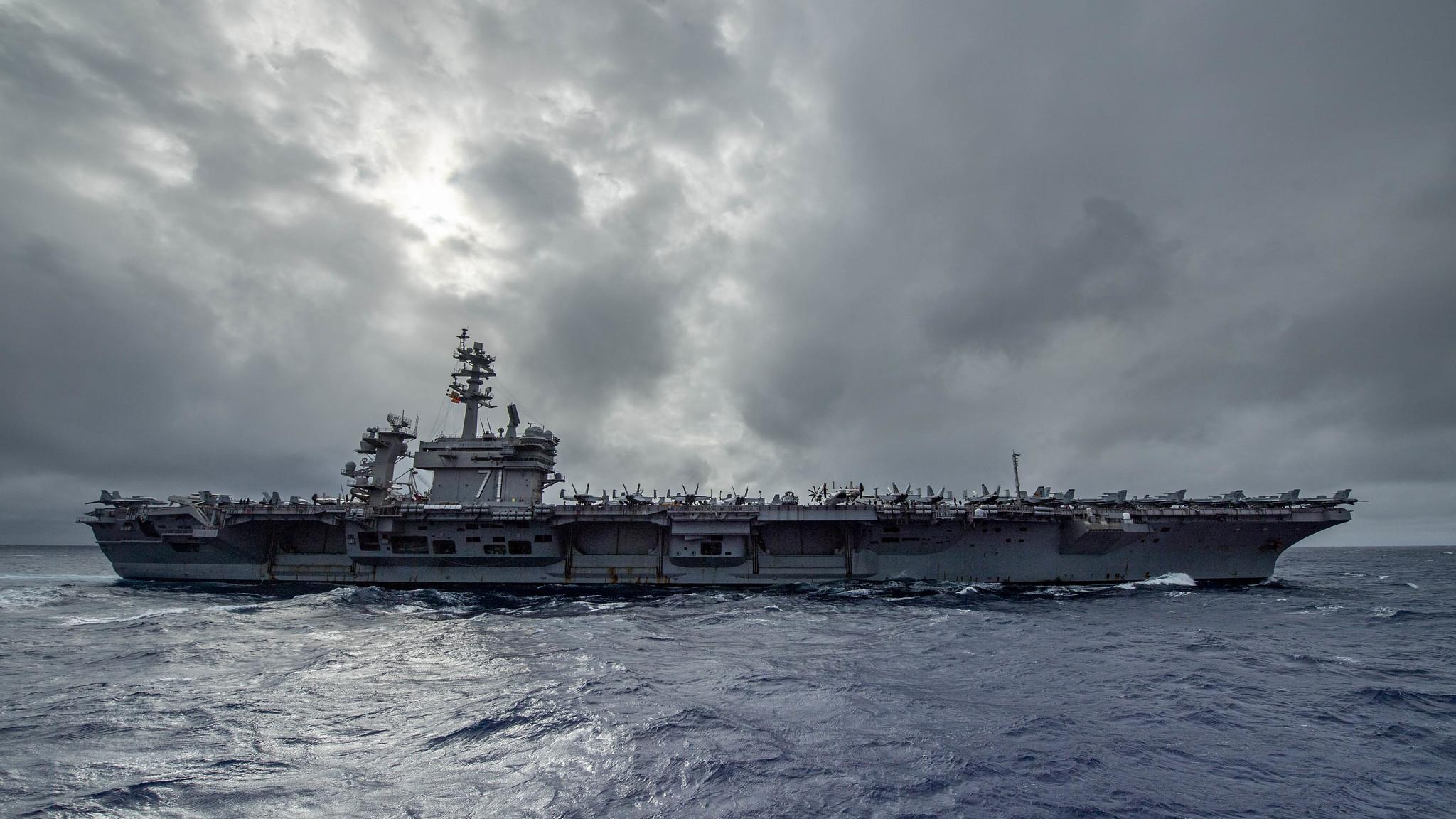 The aircraft carrier USS Theodore Roosevelt (CVN 71) transits the Pacific Ocean, Jan. 12, 2021. (MC3 Jason Waite/Navy)