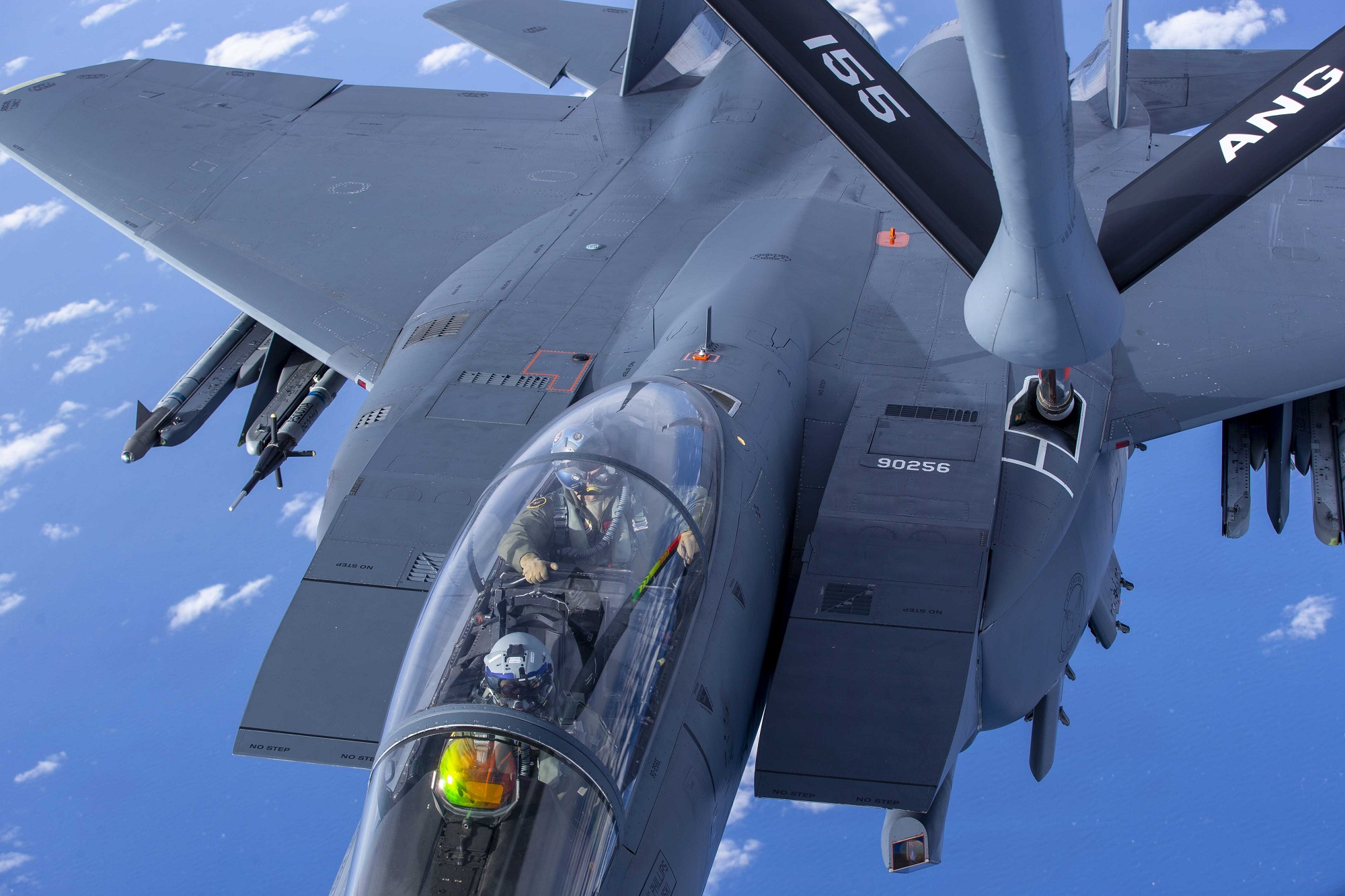 An Air Force F-15E Strike Eagle prepares to receive fuel from a KC-135 Stratotanker during Emerald Flag over the Gulf of Mexico, Dec. 3, 2020. (Staff Sgt Joshua Hoskins/Air Force)