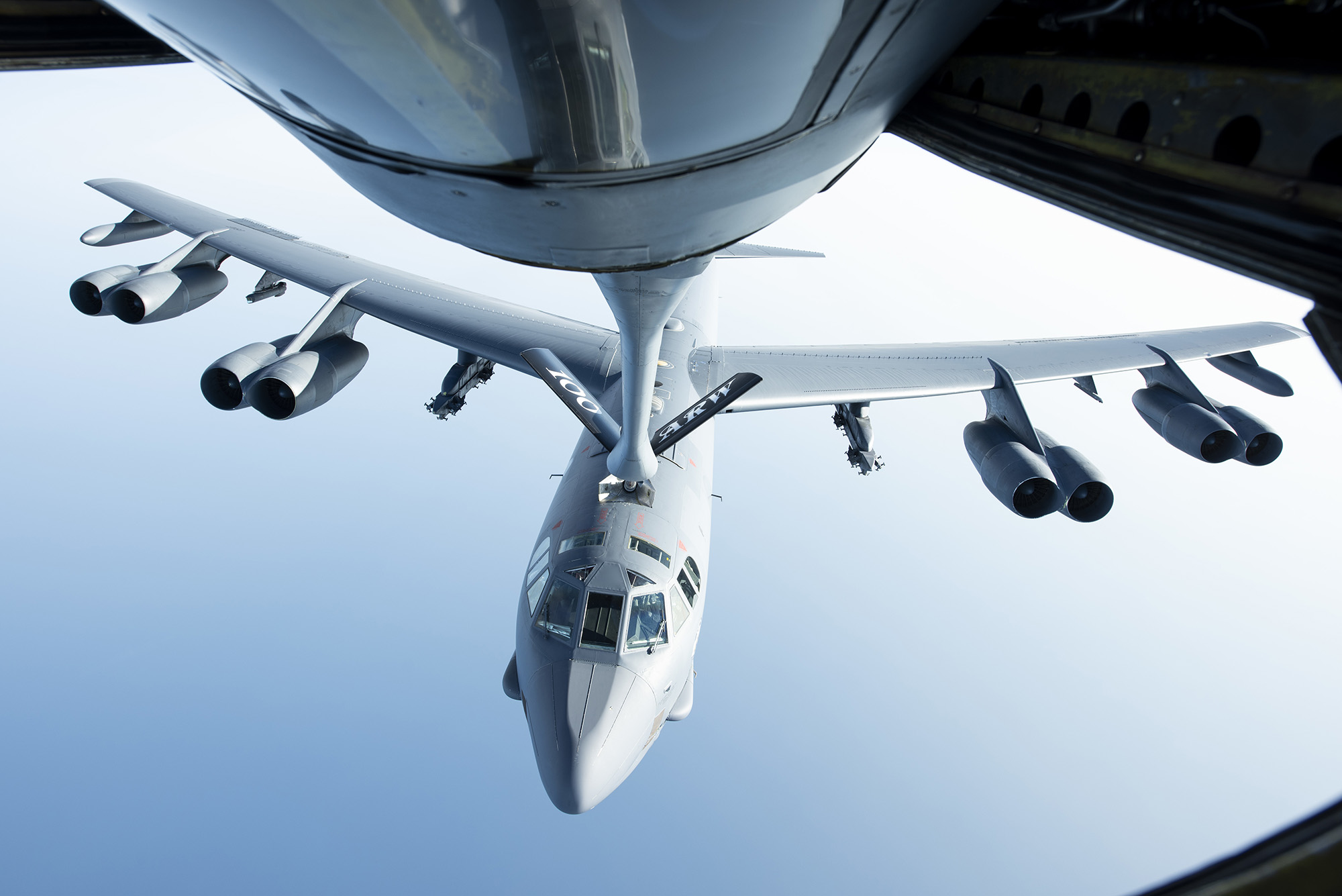 A U.S. Air Force B-52H Stratofortress flies below a KC-135 Stratotanker after receiving fuel above the Mediterranean Sea in support of a Bomber Task Force Europe mission, Sept. 16, 2020. (Senior Airman Jennifer Zima/Air Force)