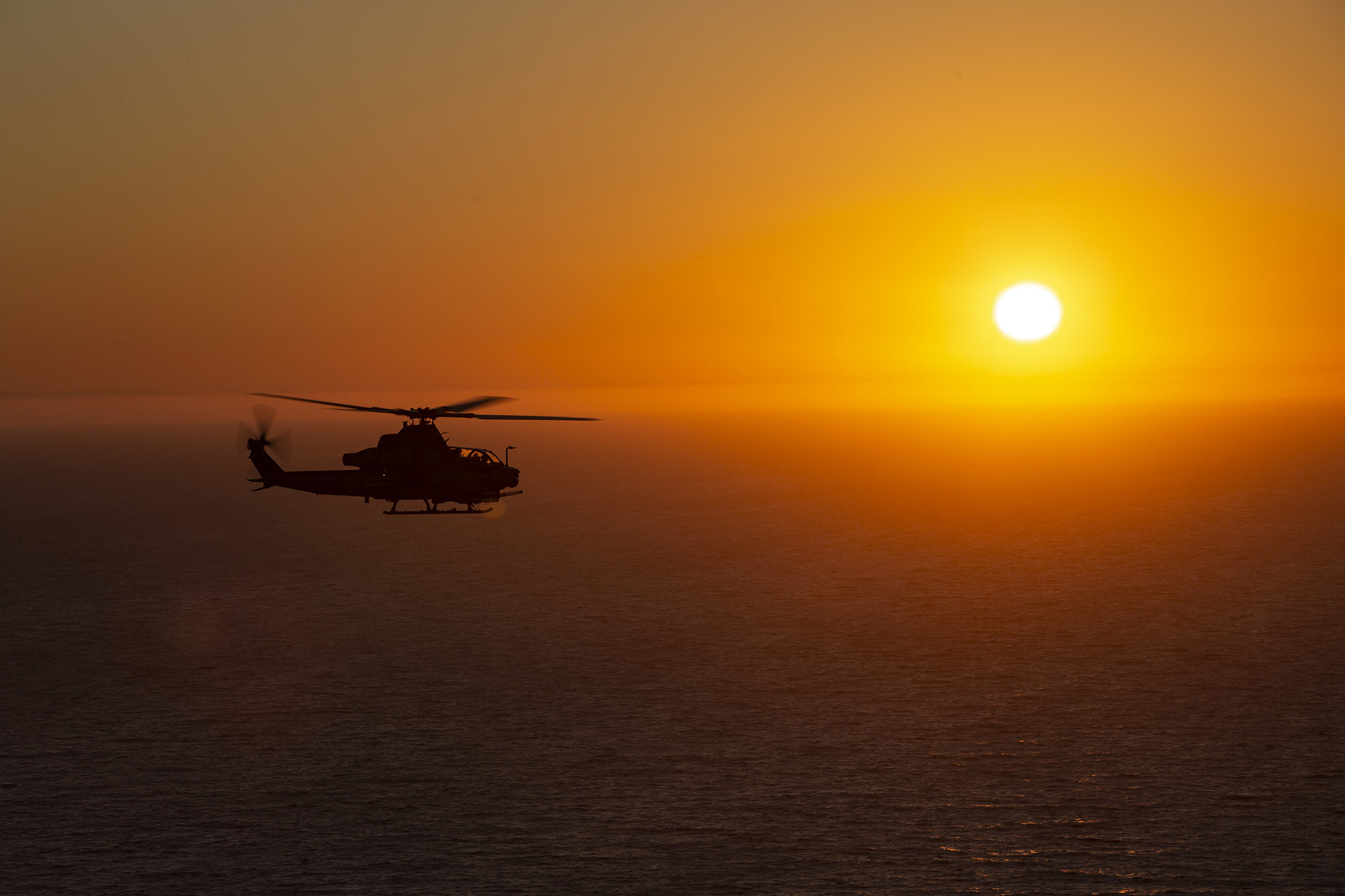 A U.S. Marine Corps AH-1Z Viper conducts Defense of Amphibious Task Force training during Exercise Trident Storm at San Clemente Island, Calif., July 30, 2020. (Cpl. Levi J. Guerra/Marine Corps)