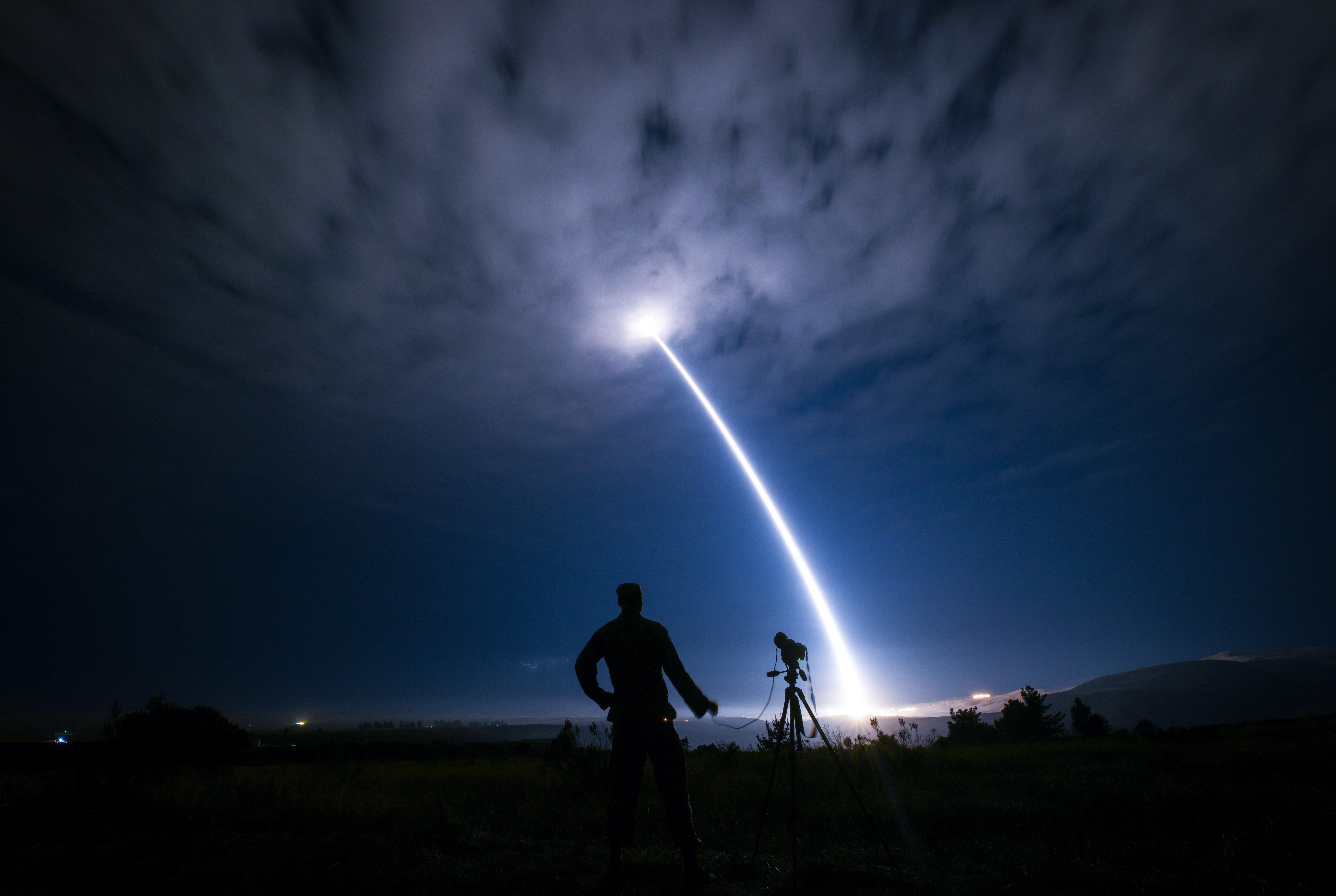 Senior Airman Ian Dudley photographs an unarmed Minuteman III intercontinental ballistic missile during an operational test Aug. 2, 2017, at Vandenberg Air Force Base, Calif. (Senior Airman Ian Dudley/U.S. Air Force)