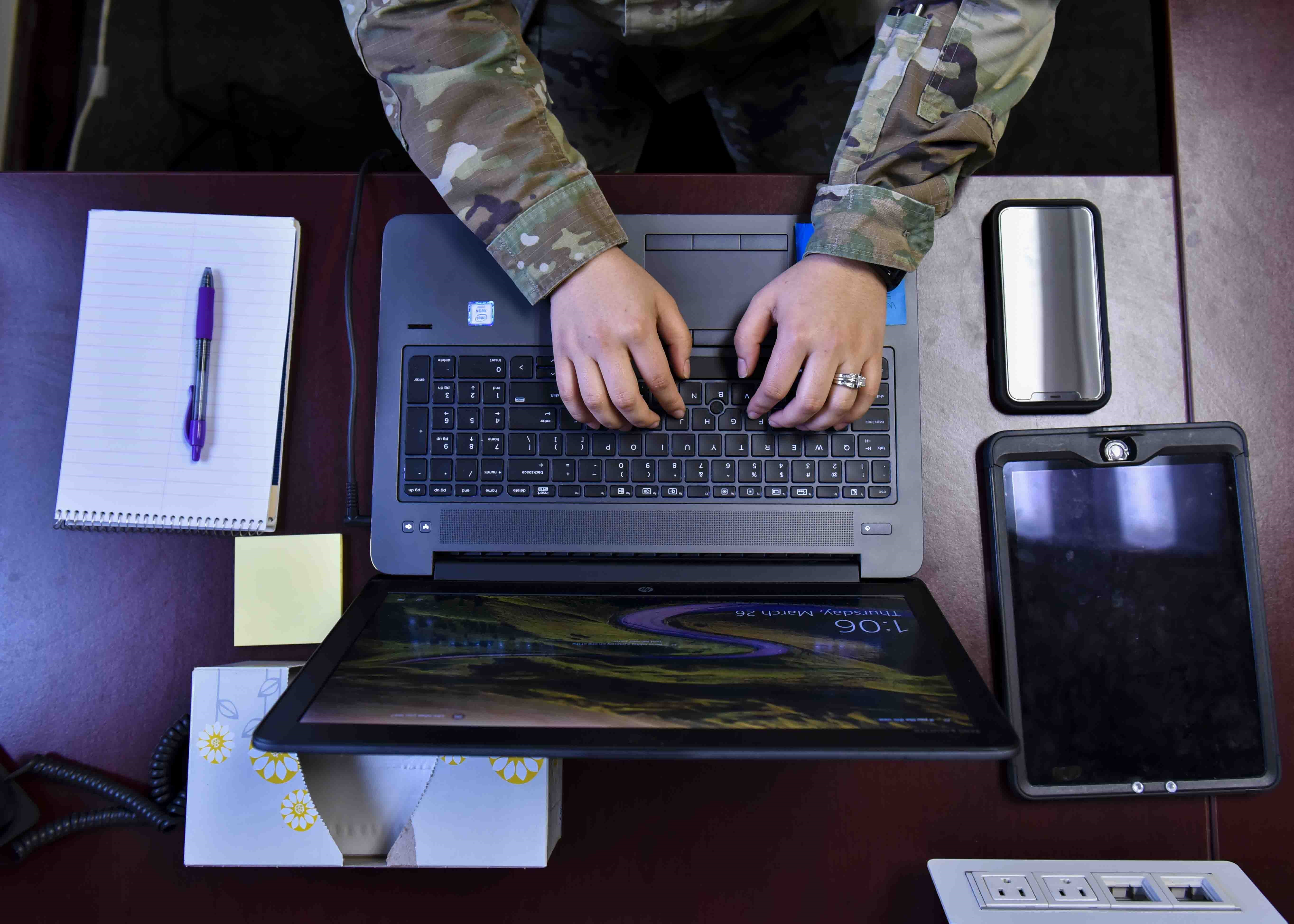 The Commercial Virtual Remote Environment allows users to access versions of Microsoft Teams, SharePoint online, OneDrive and Skype without a virtual private network connection. (Airman 1st Class Kiaundra Miller/U.S. Air Force)