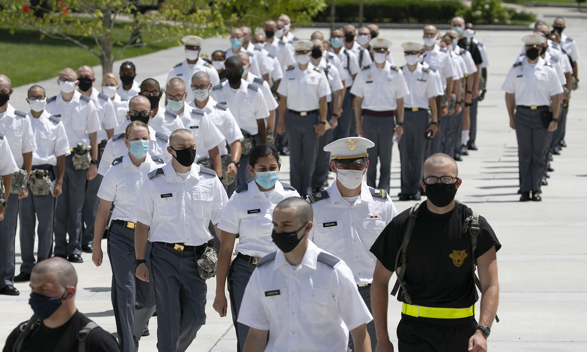 A formation of new cadets marches on July 13, 2020, at the U.S. Military Academy in West Point, N.Y. The Army is welcoming more than 1,200 candidates from every state. Candidates will be COVID-19 tested immediately upon arrival, wear masks, and practice social distancing. (Mark Lennihan/AP)