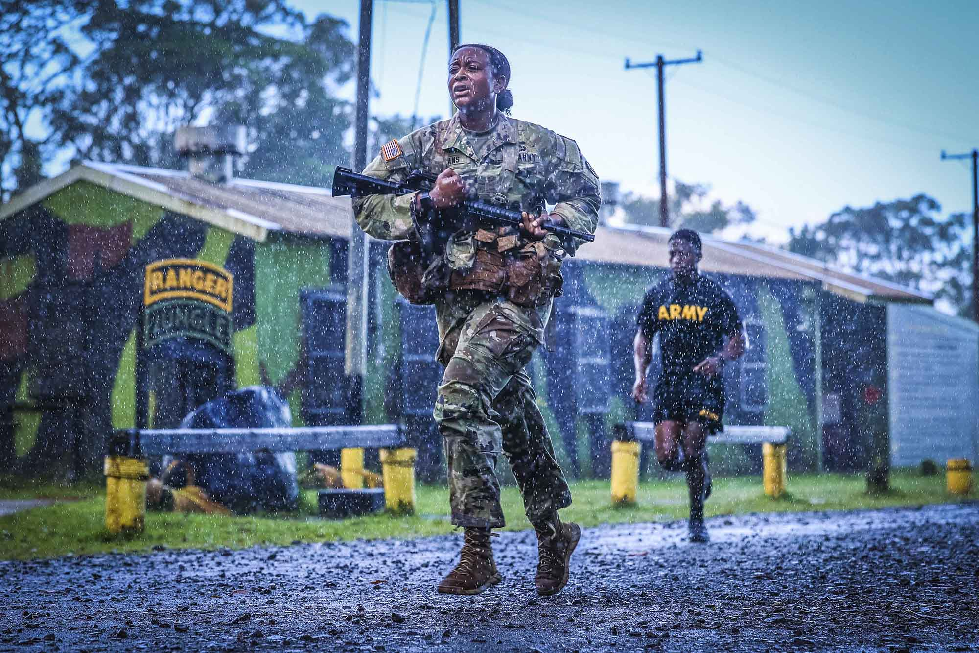 Soldiers from 25th Infantry Division Artillery completed the Jungle 5K and swim test train up at Lightning Academy Schofield Barracks, Hawaii, May 14, 2021, as practice for an upcoming Jungle Operations Training Course. (Spc. Jessica Scott/Army)