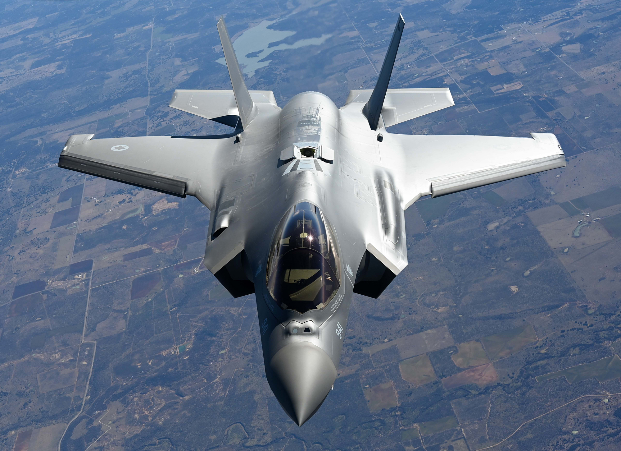 An F-35 Lightning II from the Defense Contract Maintenance Agency conducts its first flight and first tanking with a KC-135R Stratotanker from the 465th Air Refueling Squadron, Tinker Air Force Base, Okla., Feb. 24, 2021. Once fully tested, this F-35 will join the fleet at Eielson Air Force Base, Alaska. (U.S. Air Force photo by Senior Airman Mary Begy)
