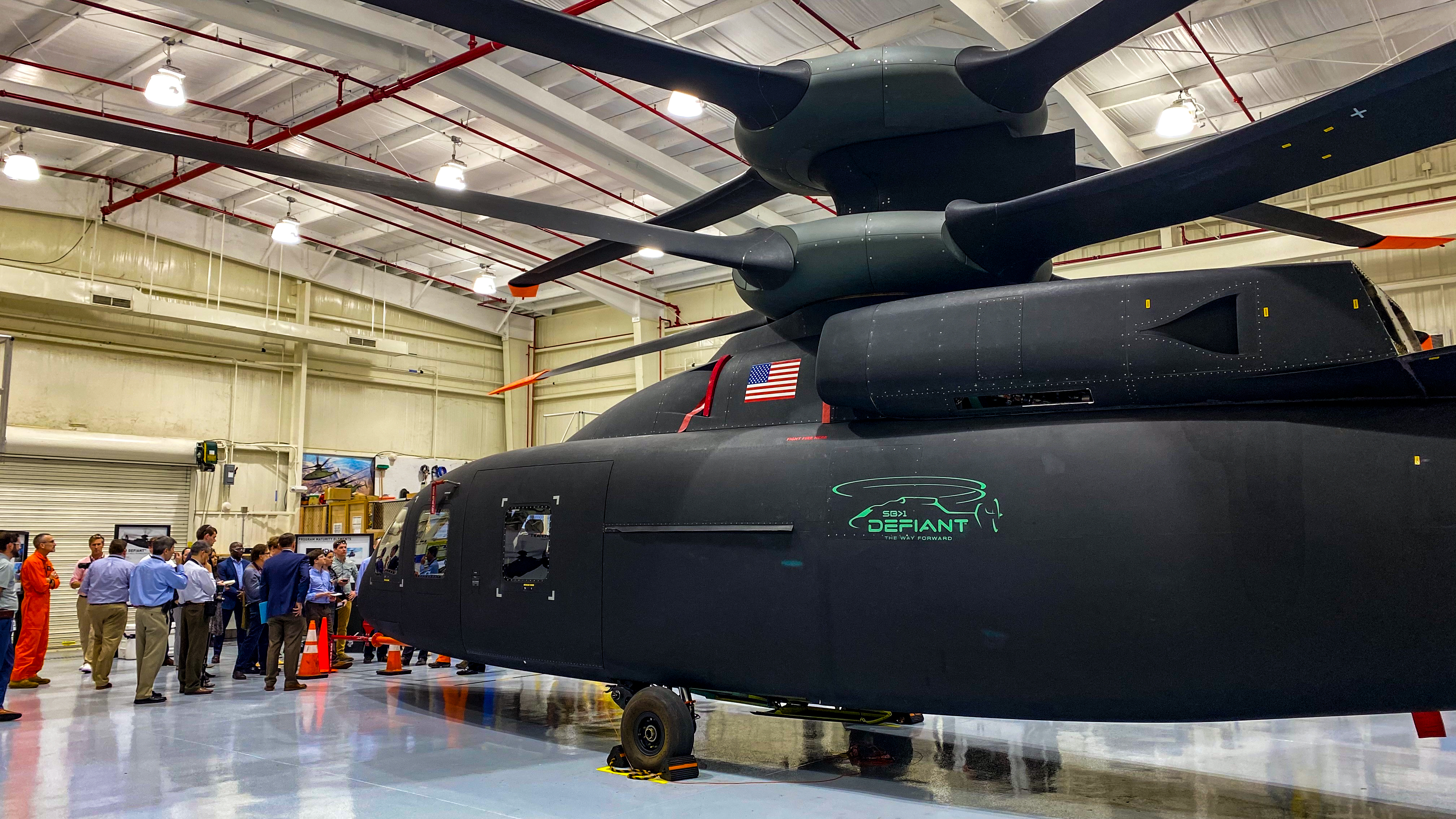 Sikorsky and Boeing's SB-1 Defiant, part of the Army's Joint Multi Role Tech Demonstrator program, sits in a hangar at Sikorsky's facility in West Palm Beach, FL. The Italian government is eying inroads into the program that could benefit its own industrial helicopter champion, Leonardo. (Jeff Martin/Staff)