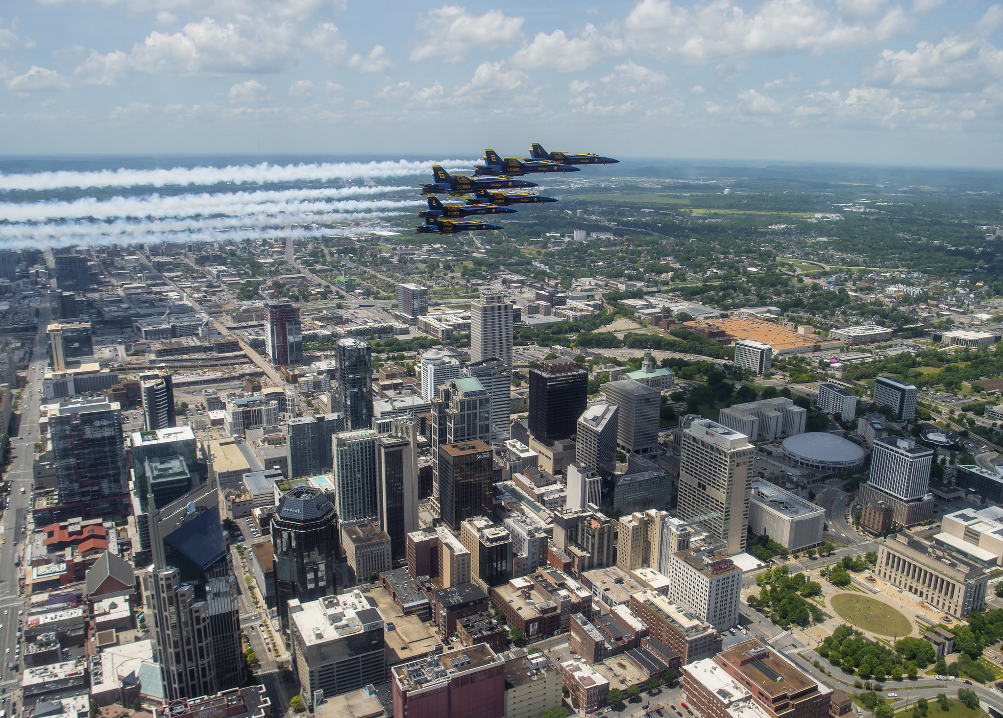 The U.S. Navy Flight Demonstration Squadron, the Blue Angels, honored frontline COVID-19 first responders and essential workers with formation flights over Nashville and Little Rock on May 14, 2020. (MC2 Cody Hendrix/Navy)