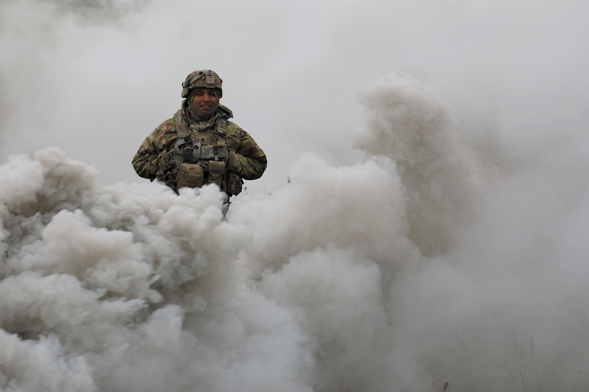 A soldier assigned to 3rd Battalion, 67th Armor Regiment walks through smoke on the battlefield on Sept. 26, 2020, at Hohenfels Training Area, Germany, as part of Combined Resolve XIV. (Dr. Joyce Costello/Army)