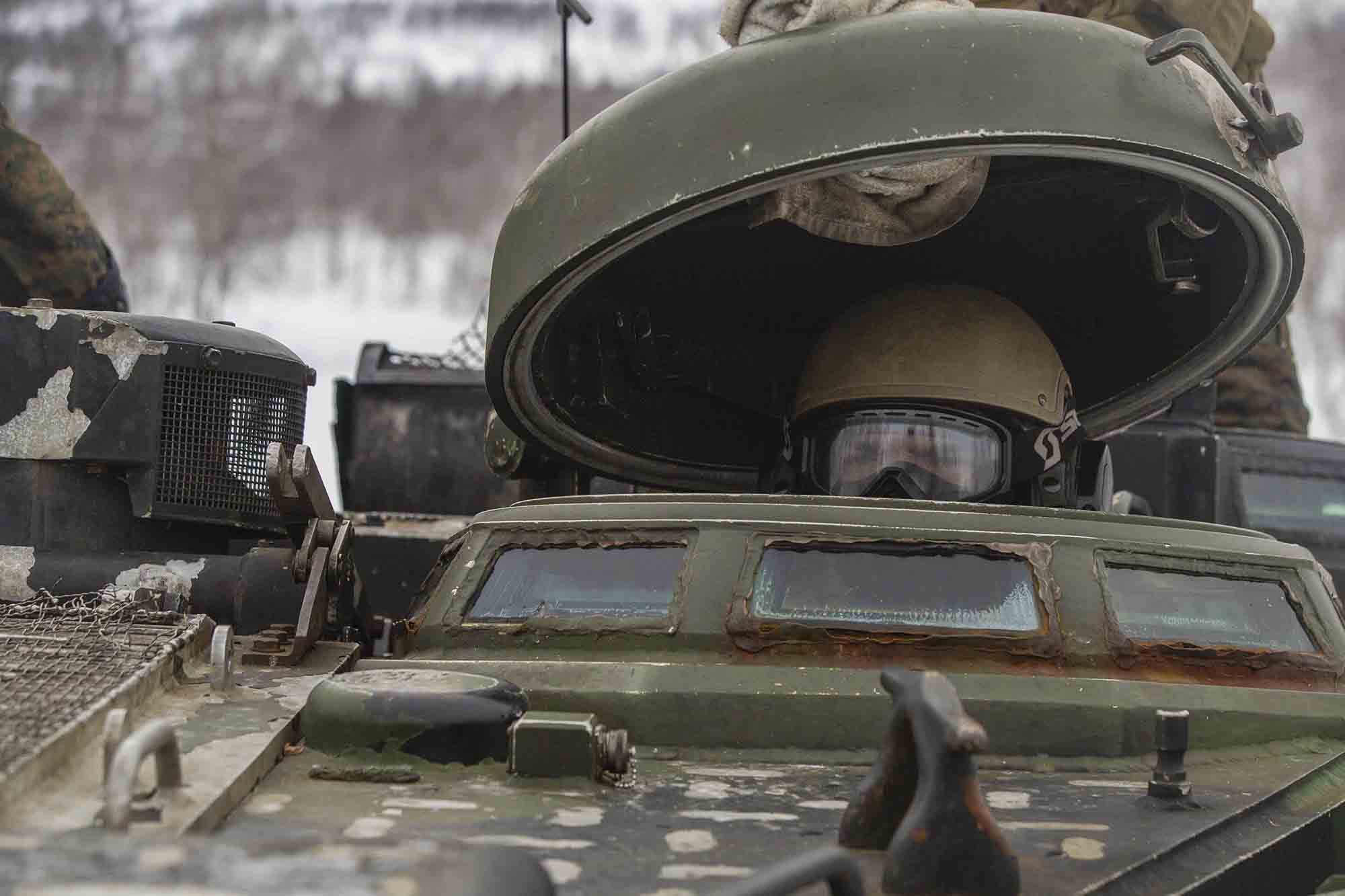 Marines with Marine Rotational Force Europe 21.1 (MRF-E), Marine Forces Europe and Africa, prepare to conduct a live-fire range using Assault Amphibious Vehicles (AAV) in Blatindan, Norway, March 16, 2021. (Cpl. Jesse Carter-Powell/Marine Corps)