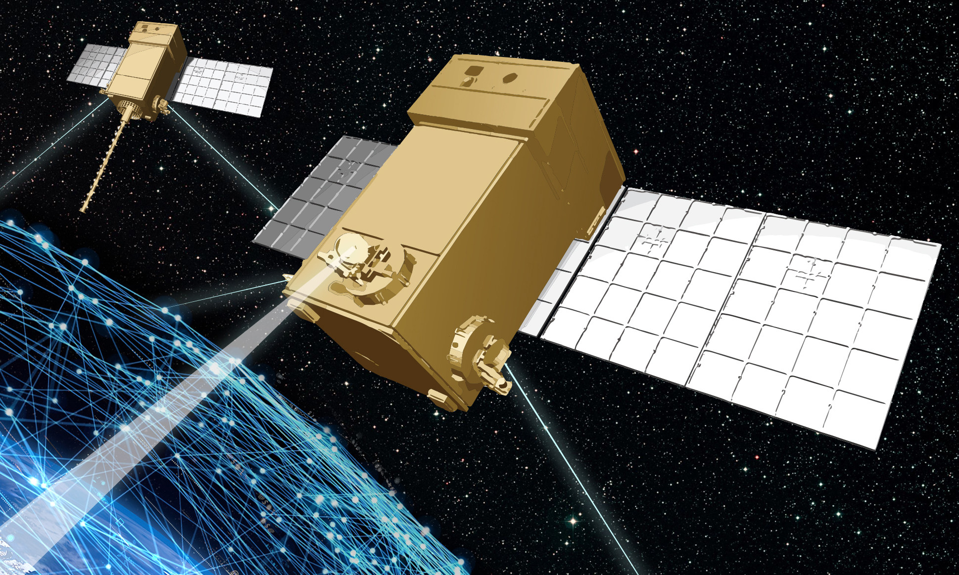 A notional image of one of the Space Development Agency's first transport layer satellites. (Lockheed Martin image)