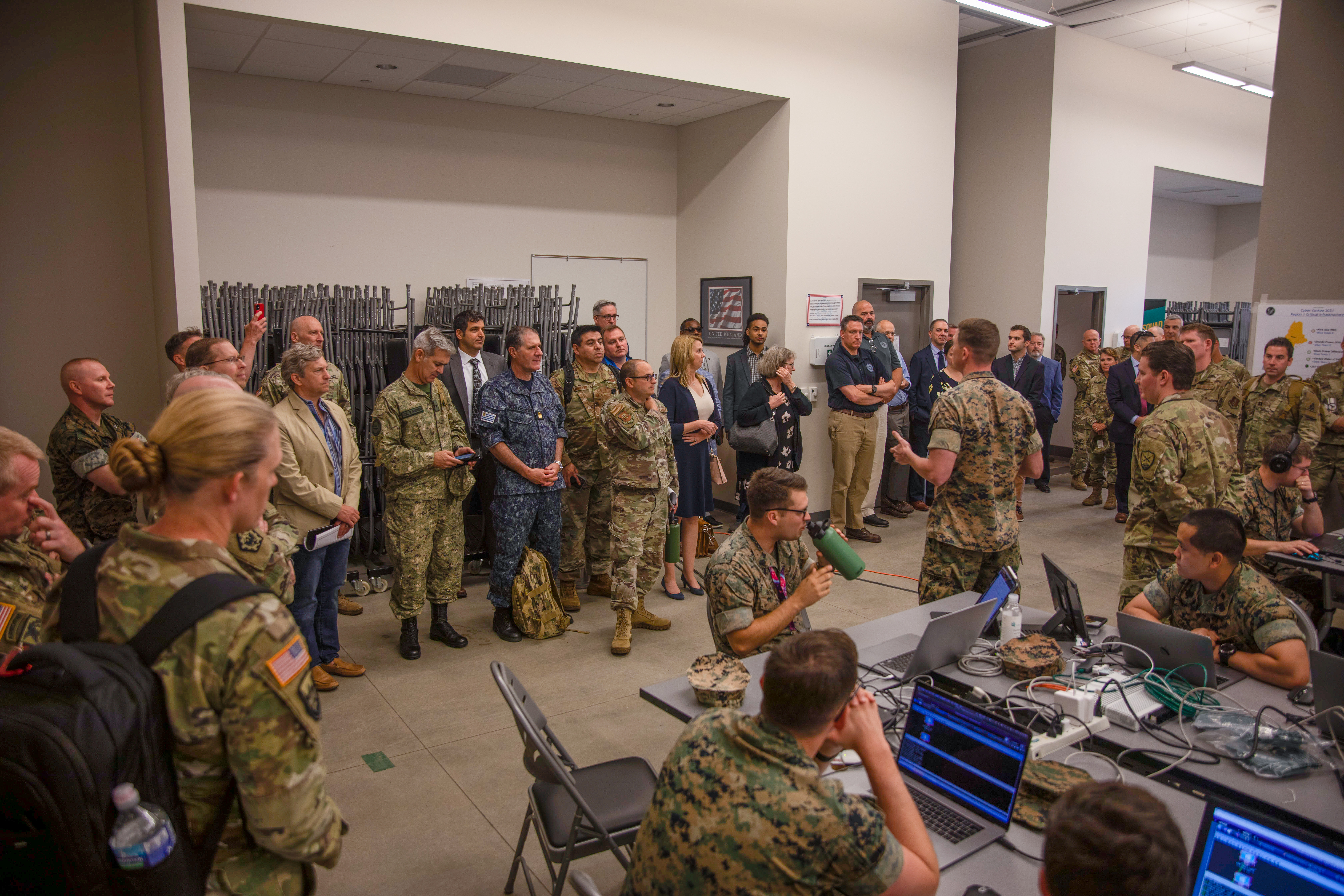 National Guardsmen from across the New England states worked to build important relationships in the event of a real-world cyber crisis during a recent exercise. (Lance Cpl. Mitchell Collyer/U.S. Marine Corps)