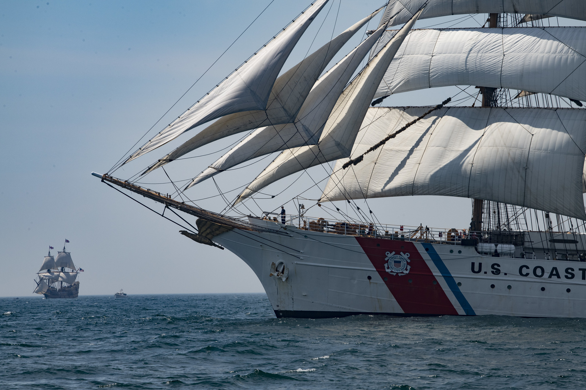 Coast Guard Cutter Barque Eagle sails with the Mayflower II through Block Island Sound, July 30, 2020. (Petty Officer 3rd Class Matthew Thieme/Coast Guard)