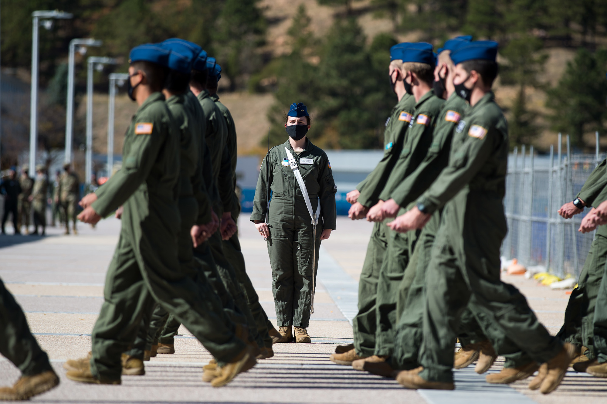 Air Force cadets march during noon meal formation Oct. 9, 2020, on the Academy's Terrazzo at the U.S. Air Force Academy in Colorado Springs, Colo. (Trevor Cokley/Air Force)