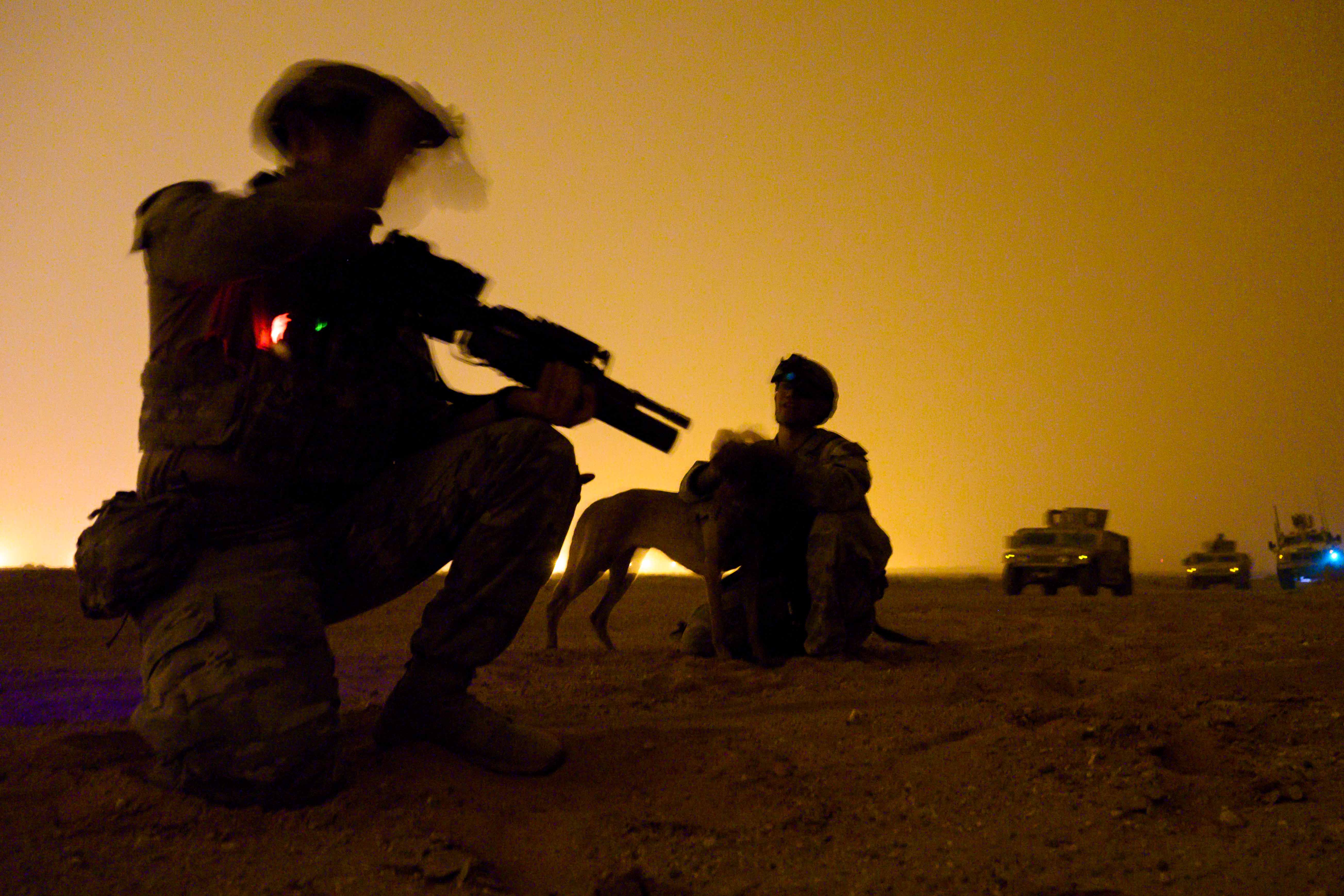 U.S. Air Force defenders with the 378th Expeditionary Security Forces Squadron conduct a dismounted patrol during a quick response training event at Prince Sultan Air Base, Saudi Arabia, June 12. (Senior Airman Samuel Earick/Air Force)
