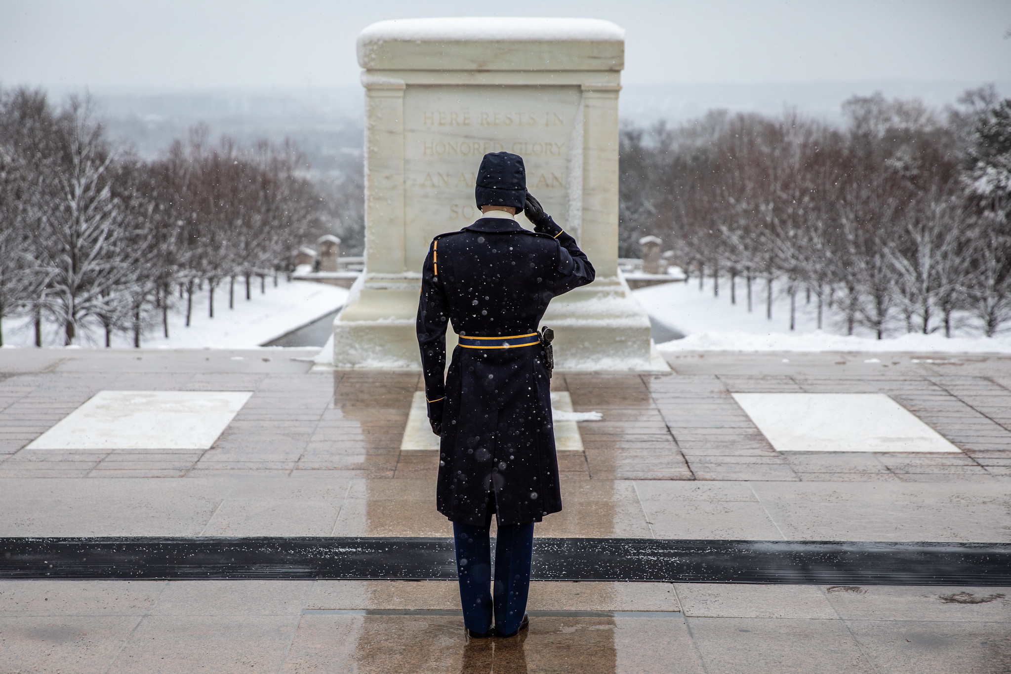 Soldiers assigned to the Tomb of the Unknown Soldier, Headquarters and Headquarters Co., 4th Battalion, 3d U.S. Infantry Regiment (The Old Guard) maintain their 83-year vigil at the Tomb of the Unknown Soldier, Arlington National Cemetery, Arlington, Va., Feb. 2, 2021. (Sgt. Jacob Holmes/Army)