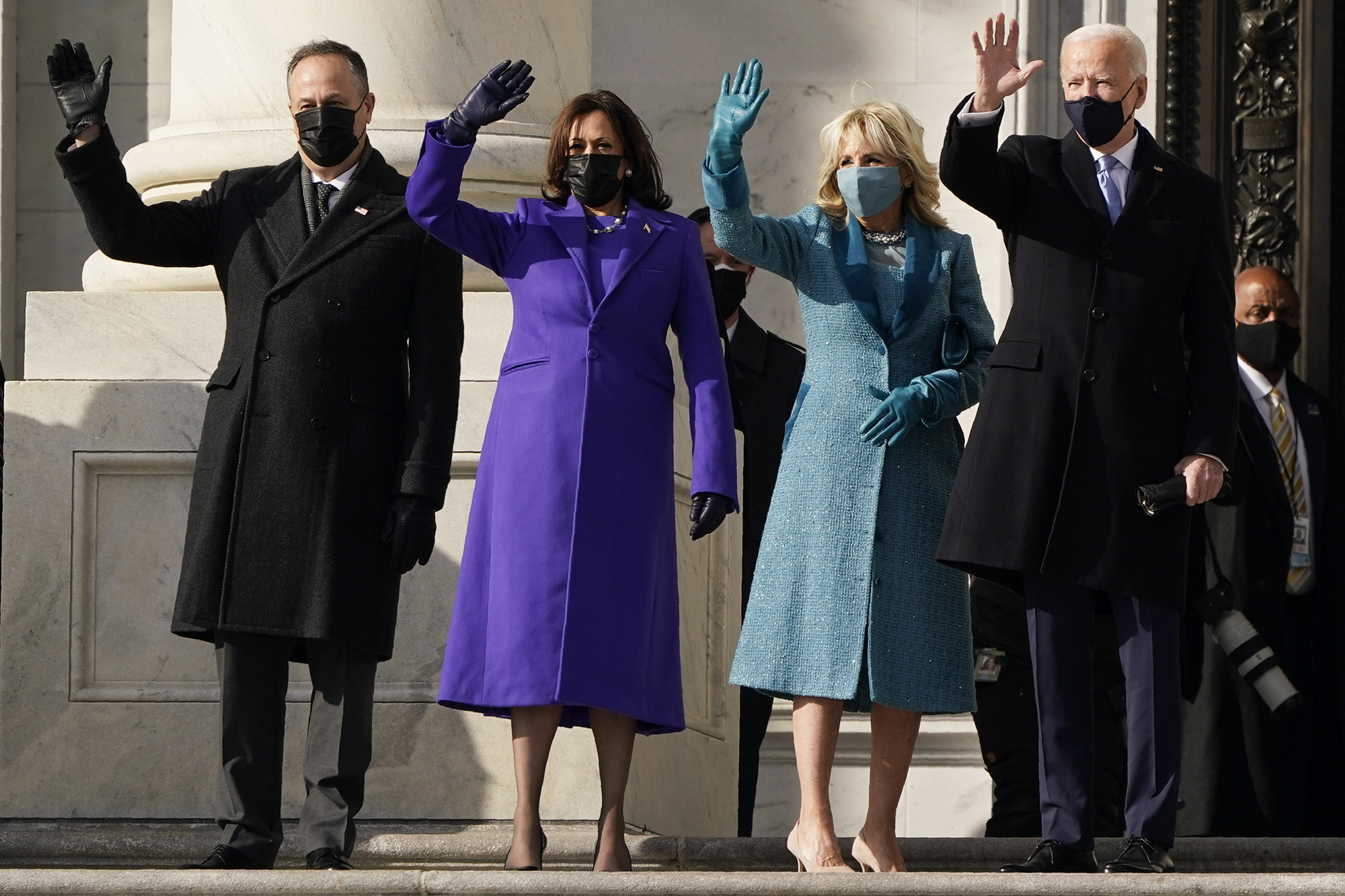 President-elect Joe Biden, his wife Jill Biden and Vice President-elect Kamala Harris and her husband Doug Emhoff arrive at the steps of the U.S. Capitol for the start of the official inauguration ceremonies, in Washington, Wednesday, Jan. 20, 2021. (J. Scott Applewhite/AP)
