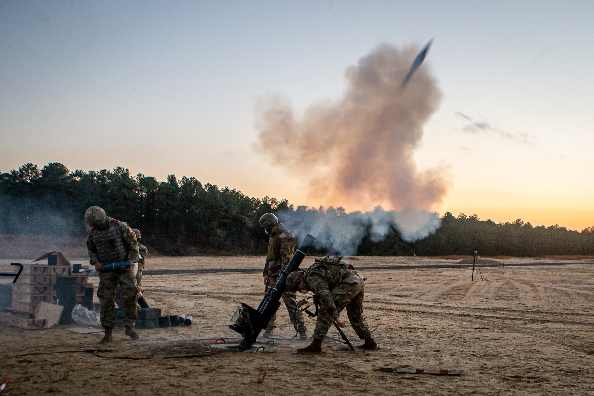 U.S. Army soldiers with the 2nd Battalion, 113th Infantry Regiment, New Jersey Army National Guard, fire the 120mm mortar system on Joint Base McGuire-Dix-Lakehurst, N.J., Nov. 13, 2020. (Spc. Michael Schwenk/Army National Gaurd)