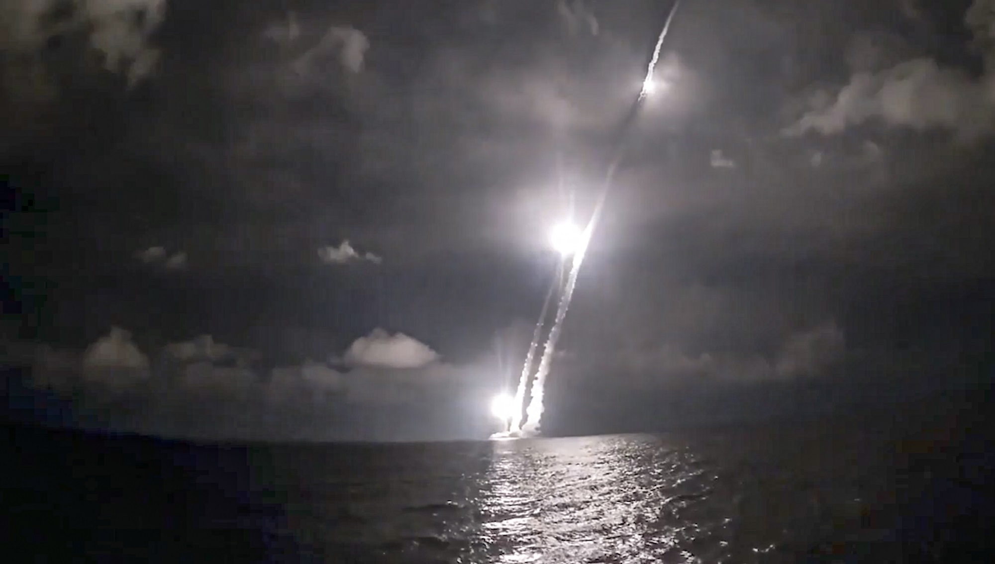 Intercontinental ballistic missiles are launched by the Russian Navy nuclear submarine Vladimir Monomakh from the Sera of Okhotsk on Dec. 12, 2020. (Russian Defense Ministry Press Service via AP)