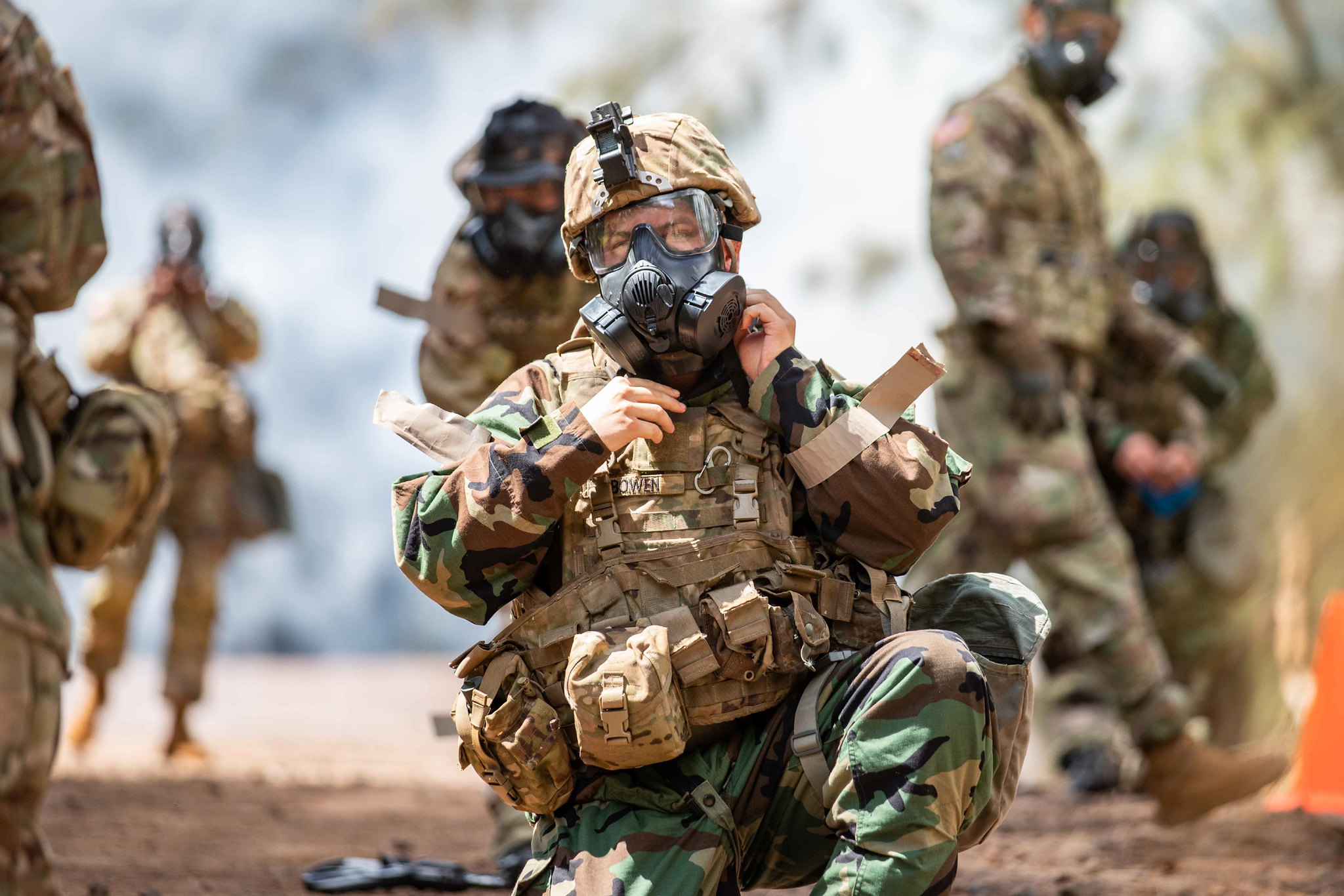 Soldiers of the Chemical Reconnaissance Platoon, 29th Brigade Engineer Battalion, 3rd Infantry Brigade Combat Team, 25th Infantry Division conducts a Chemical, Biological, Radiological, and Nuclear Academy at the Kahuku Training Area, Hawaii on Aug. 20, 2020. (1st Lt. Angelo Mejia/Army)
