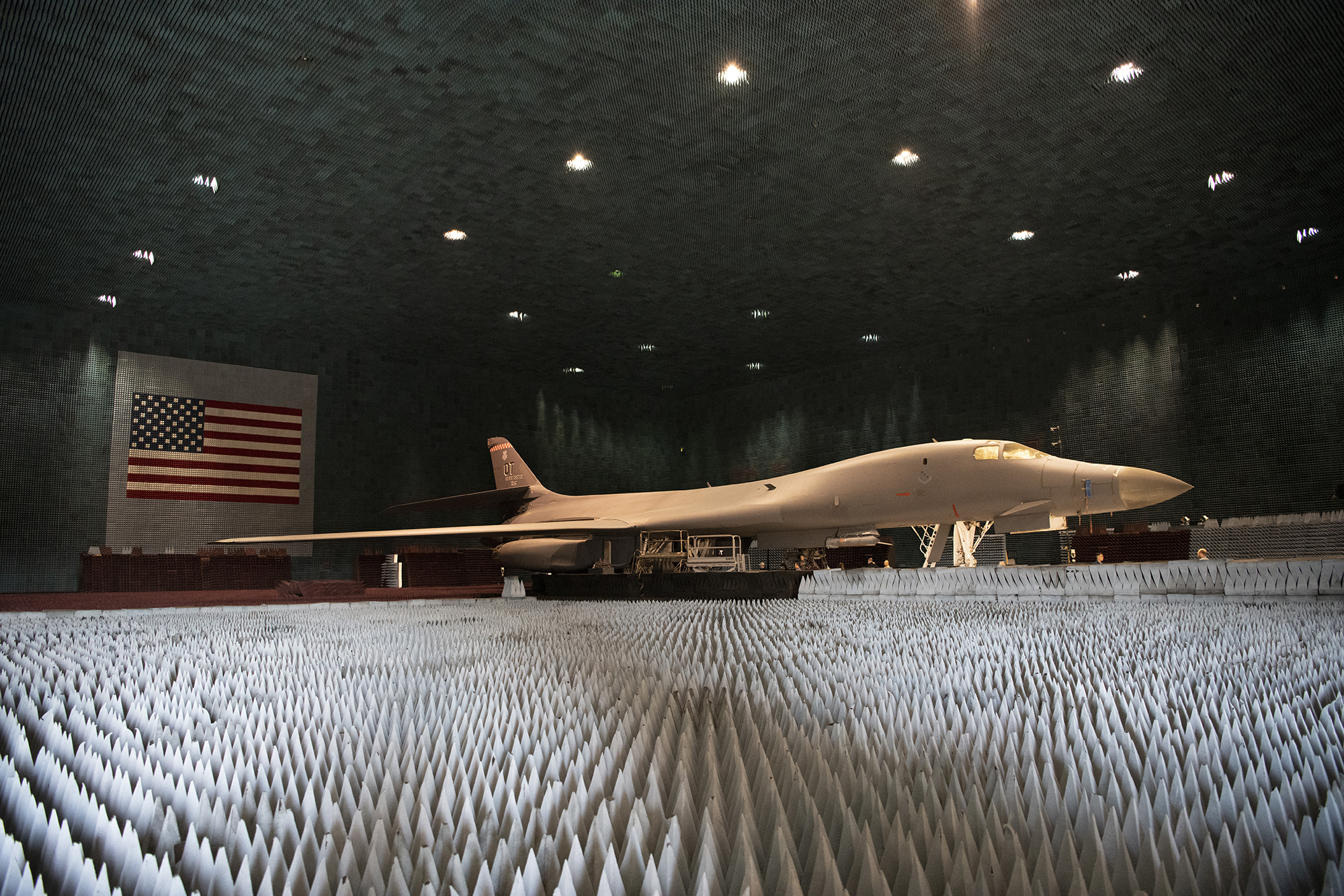 Ground crews move a B-1B Lancer into position at the Benefield Anechoic Facility on Edwards Air Force Base, Calif., May 20, 2021. The B-1B, assigned to the 337th Test and Evaluation Squadron, 53rd Wing, out of Dyess AFB, Texas, will be used to conduct testing of Pre-processor Flight Software 6.42. (1st Lt. Christine Saunders/Air Force)