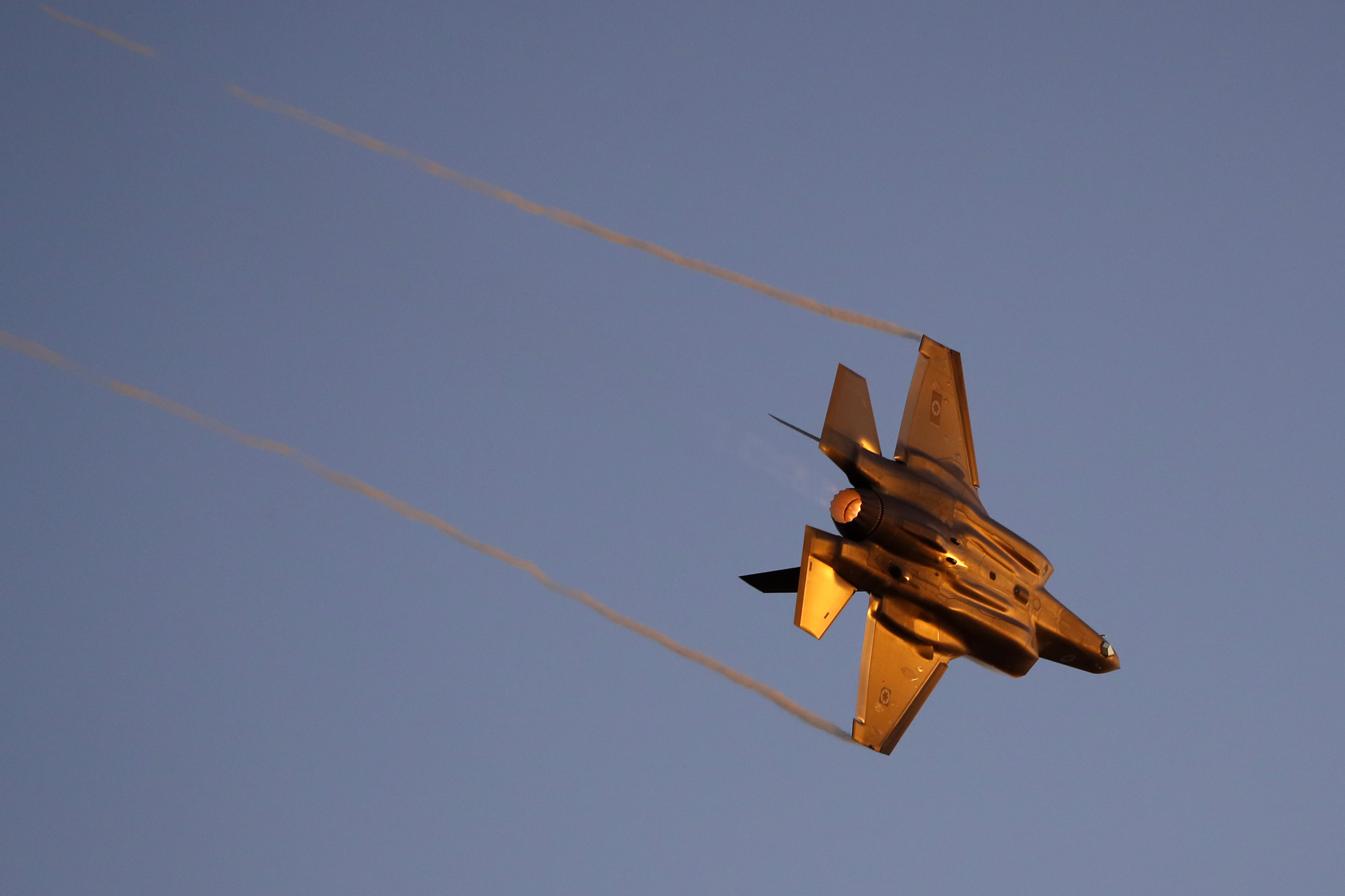 An Israeli F-35 fighter jet performs during an air show at the graduation ceremony of Israeli pilots. (Jack Guez/AFP via Getty Images)