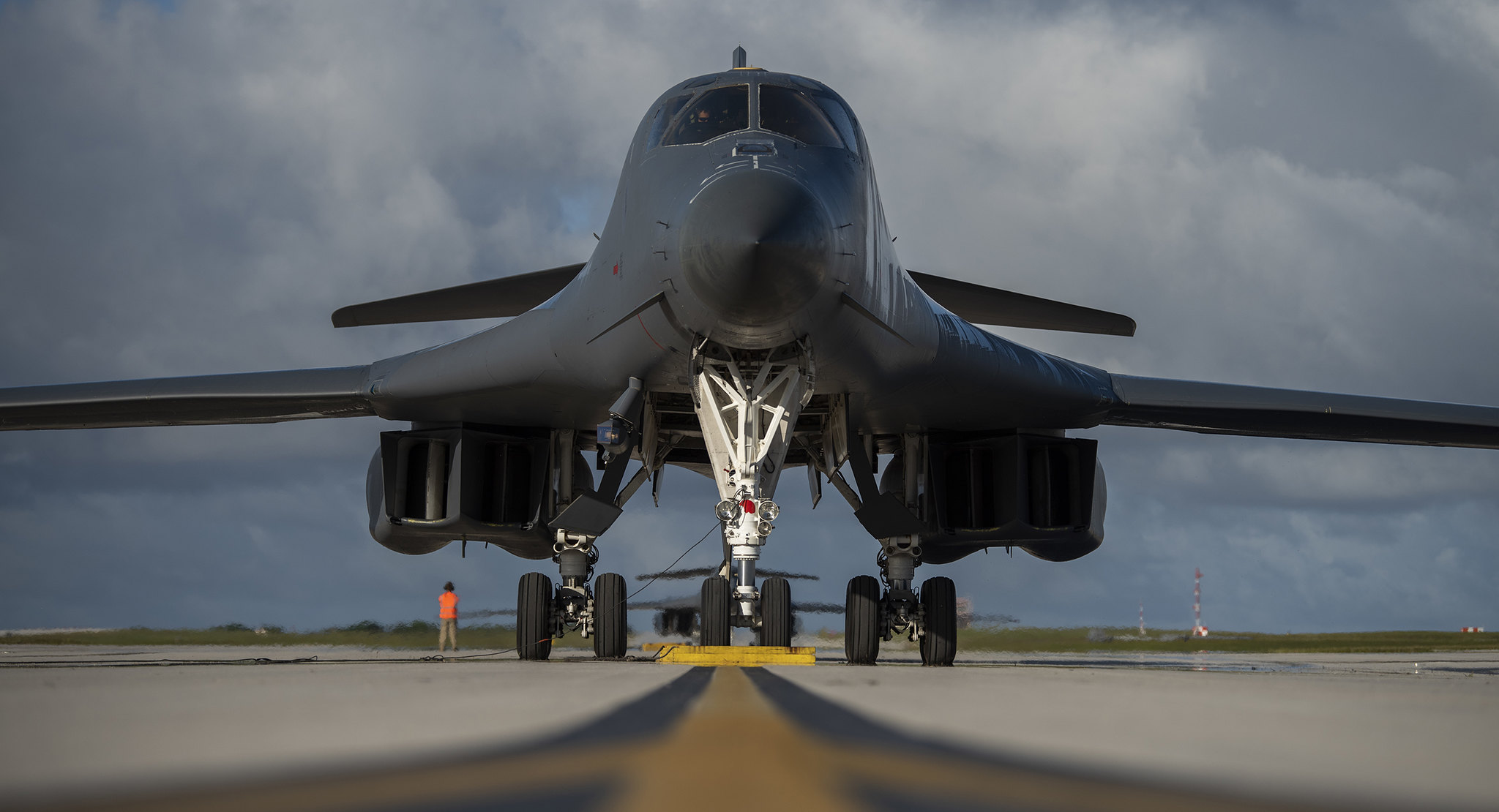 A 9th Expeditionary Bomb Squadron B-1B Lancer waits to park at Andersen Air Force Base, Guam, May 14, 2020, after completing a training mission in the East China Sea. (Senior Airman River Bruce/Air Force)