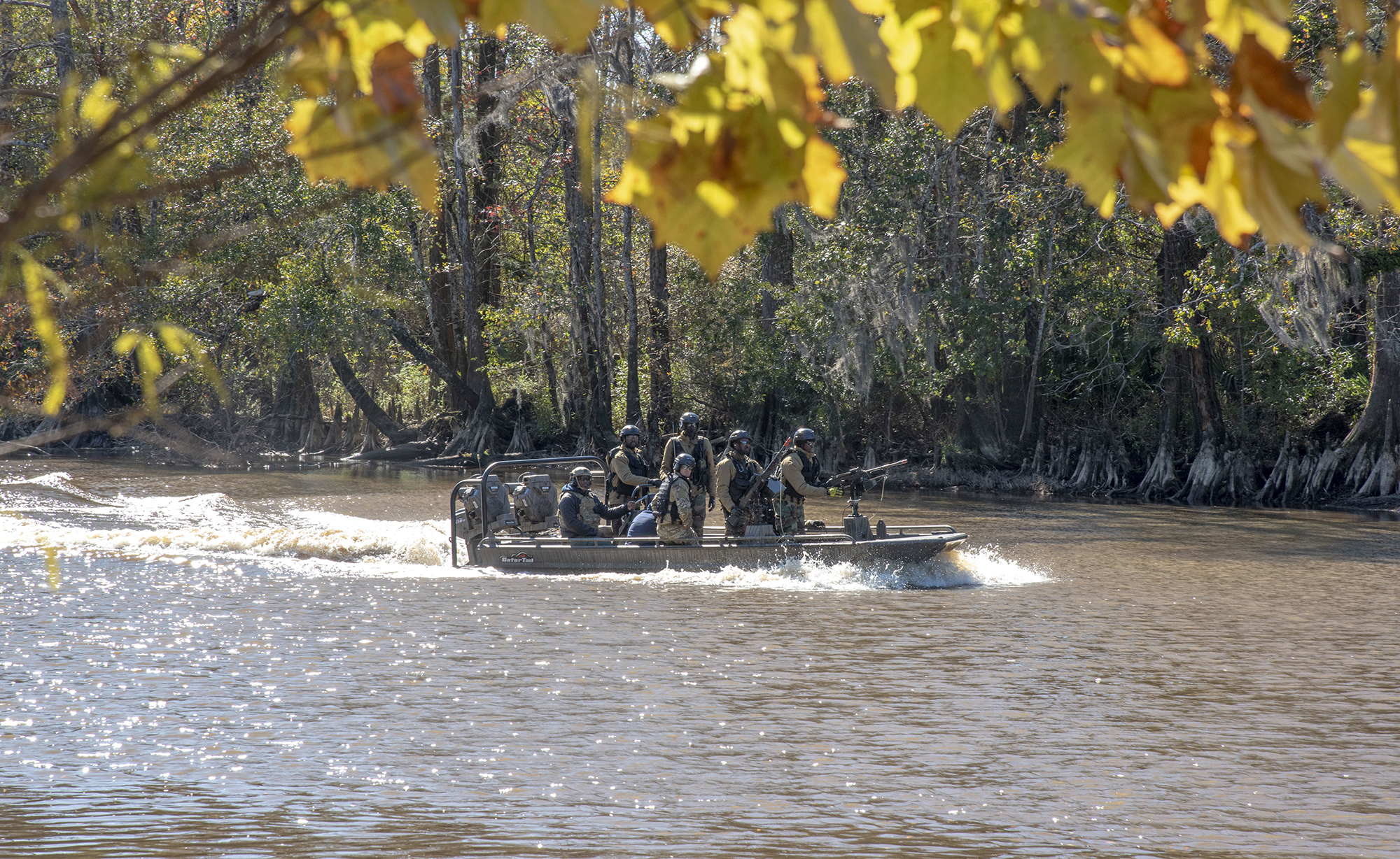 Naval Small Craft Instruction and Technical Training School students from Africa Command participate in a Patrol Craft Officer Riverine training exercise on the Pearl River near the John C. Stennis Space Center in Mississippi, Dec. 2, 2020. (Michael Williams/Navy)