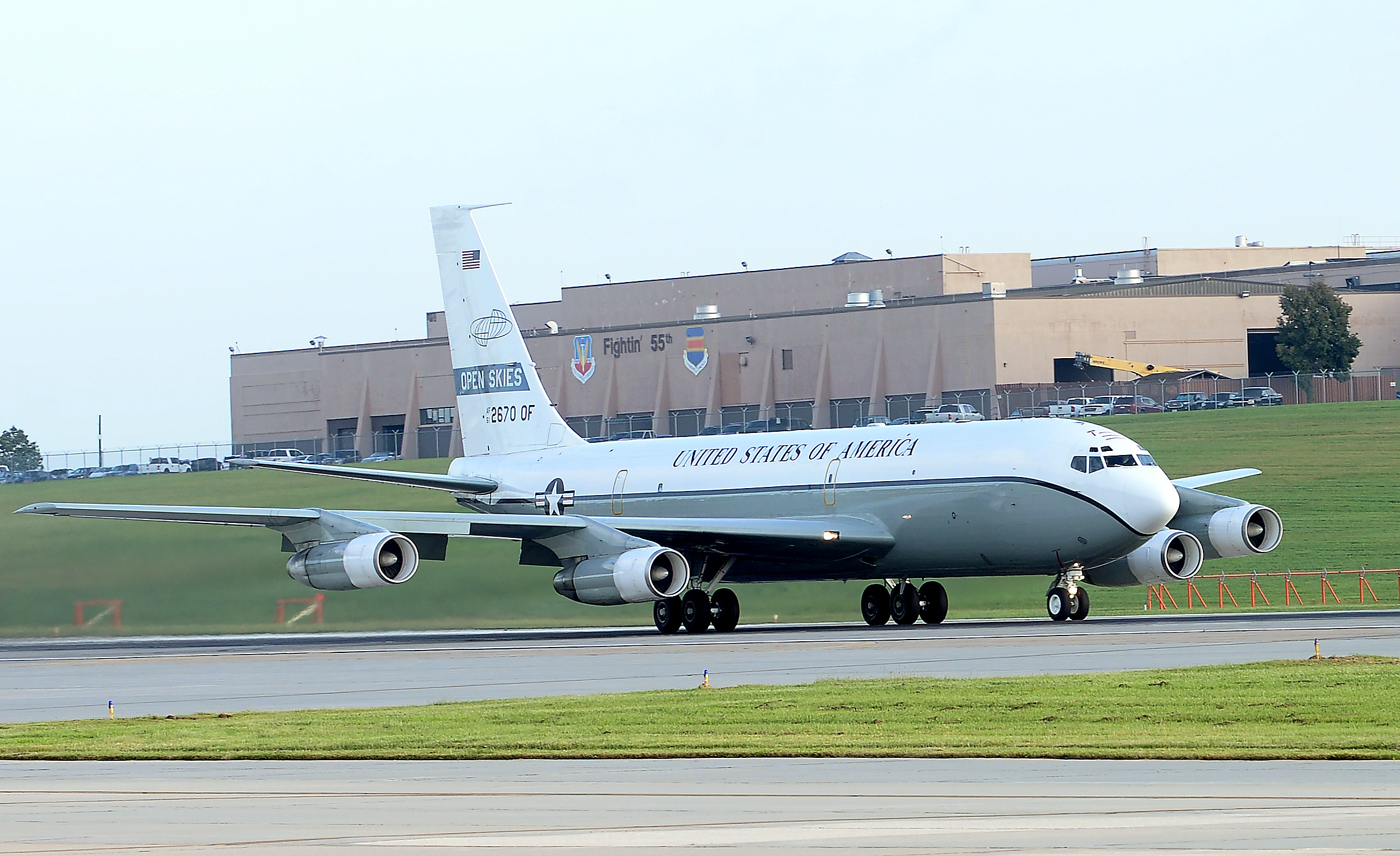 An OC-135 Open Skies aircraft takes off Sept. 14, 2018 from the flight line at Offutt Air Force Base, Neb. (Charles J. Haymond/U.S. Air Force)