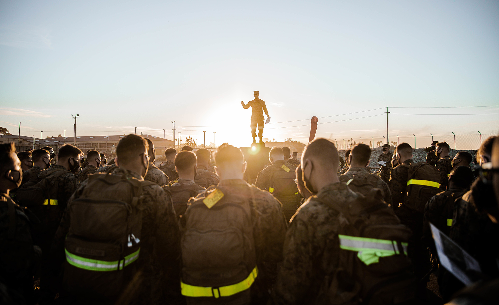Marines Corps 1st Lt. John Merten, the executive officer of Co. C, 3rd Assault Amphibian Battalion, 1st Marine Division, briefs Marines on Jan. 15, 2021, prior to beginning the Amphibious Combat Endurance Test on Marine Corps Base Camp Pendleton, Calif. (Lance Cpl. Roxanna Ortiz/Marine Corps)