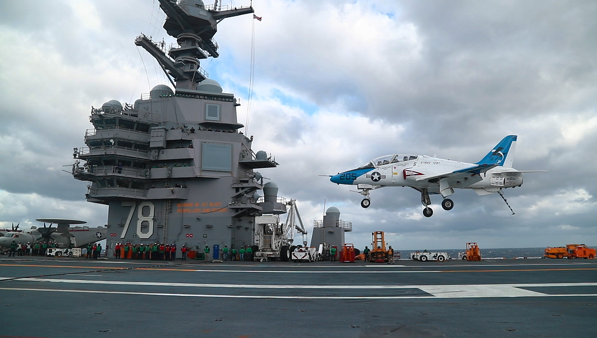 A T-45 Goshawk lands on the carrier Gerald R. Ford. A slew of technical issues has set back the Navy's training pipeline and caused a shortfall in fighter pilots. (MC2 Ruben Reed/U.S. Navy)