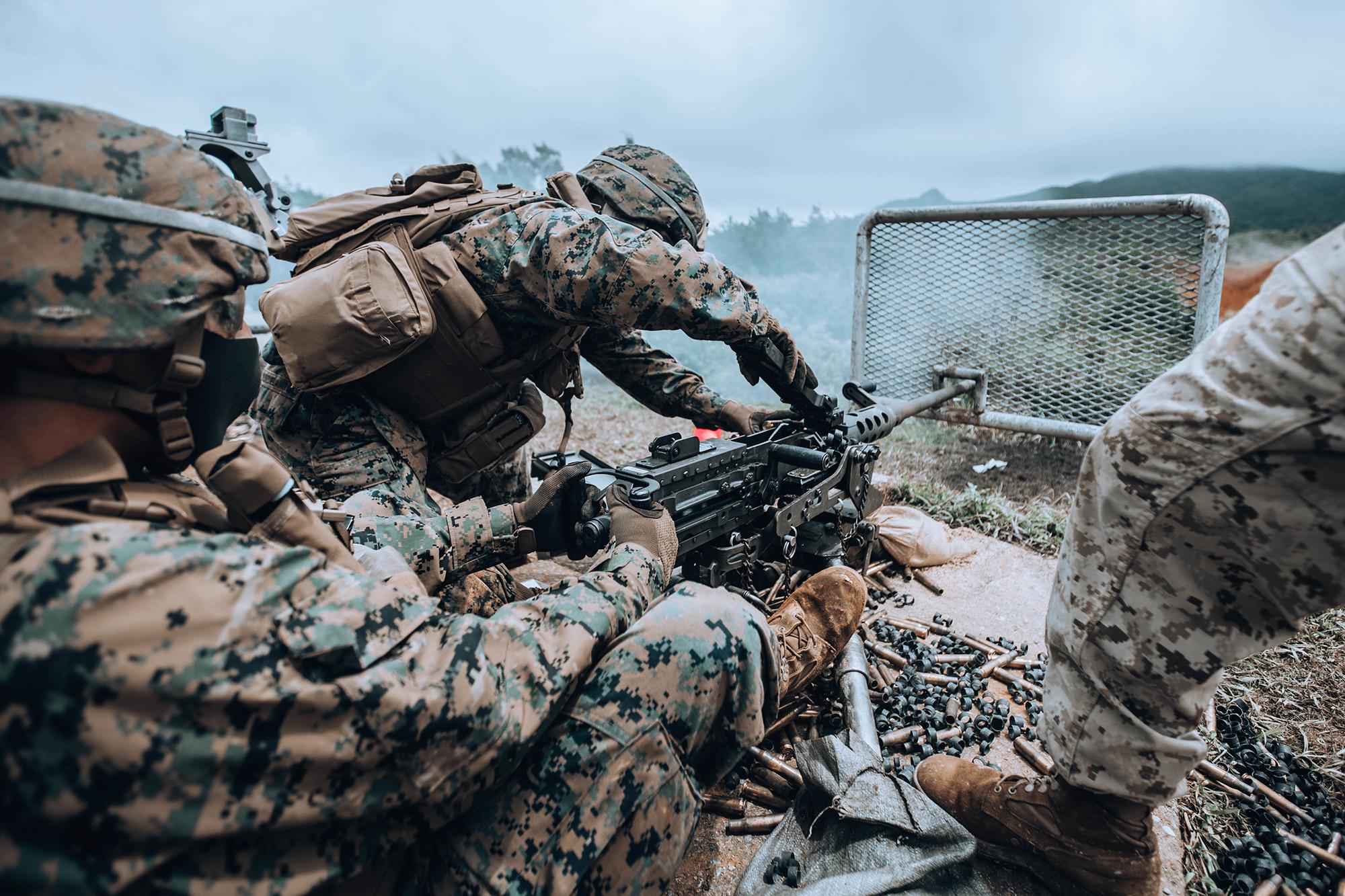 U.S. Marines fire an M2 .50 caliber machine gun on Camp Hansen, Okinawa, Japan, Aug. 26, 2020. (Lance Cpl. Jackson Dukes/Marine Corps)
