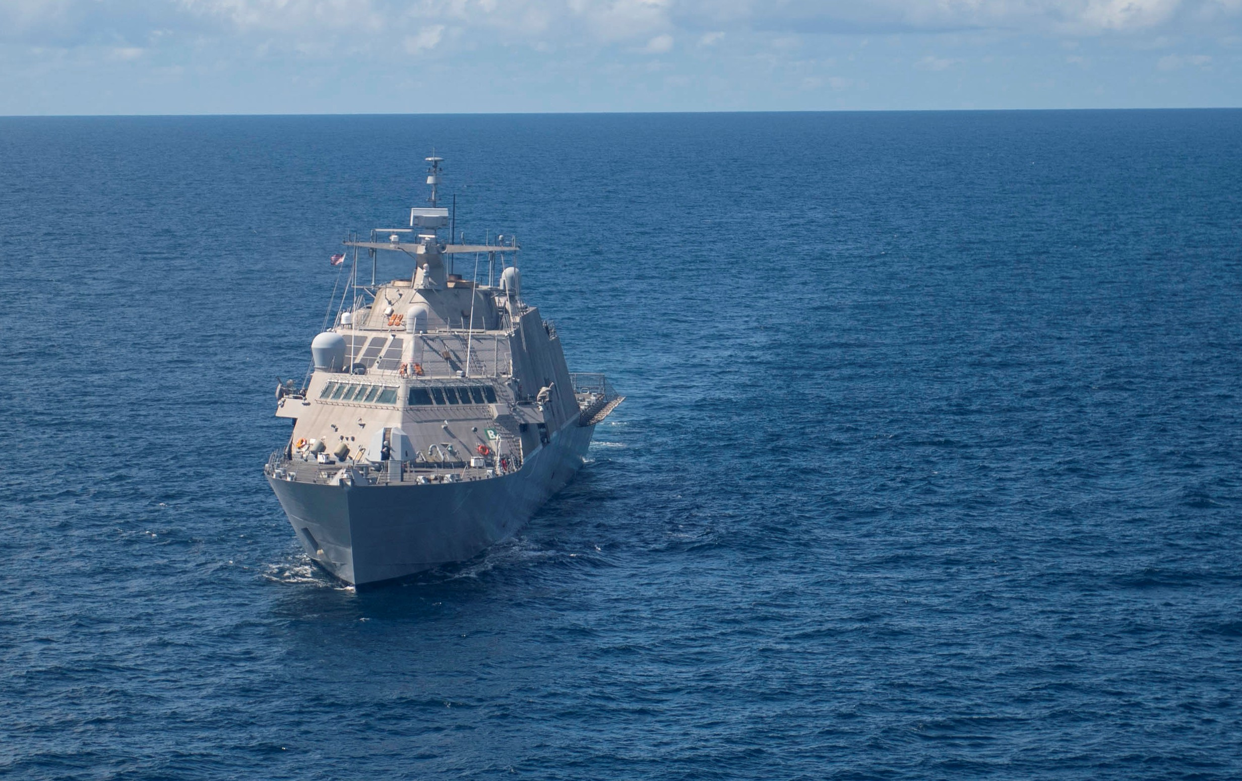 The littoral combat ship Detroit ended its deployment to South America early after issues with it combining gear, marking the latest setback for the Freedom variant's complicated propulsion system. (MC2 Devin Bowser/U.S. Navy)